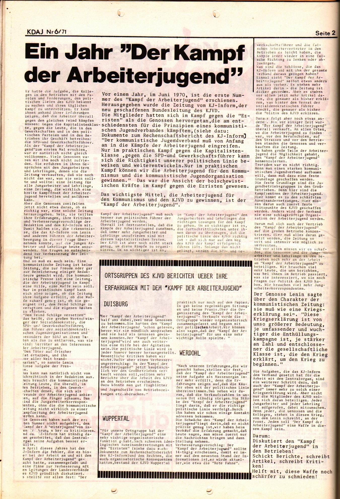 KDAJ, 2. Jg., Juni 1971, Nr. 6, Seite 2