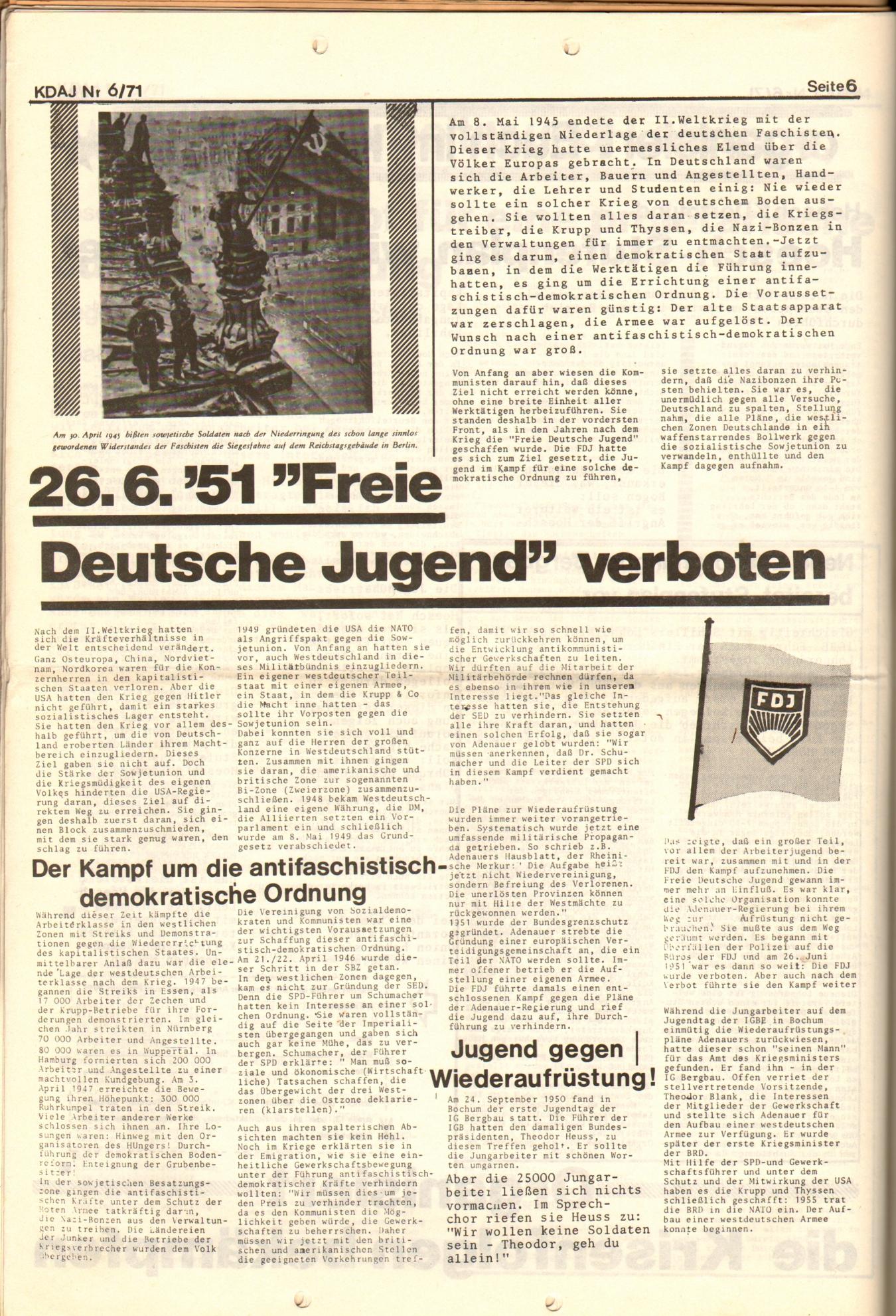KDAJ, 2. Jg., Juni 1971, Nr. 6, Seite 6