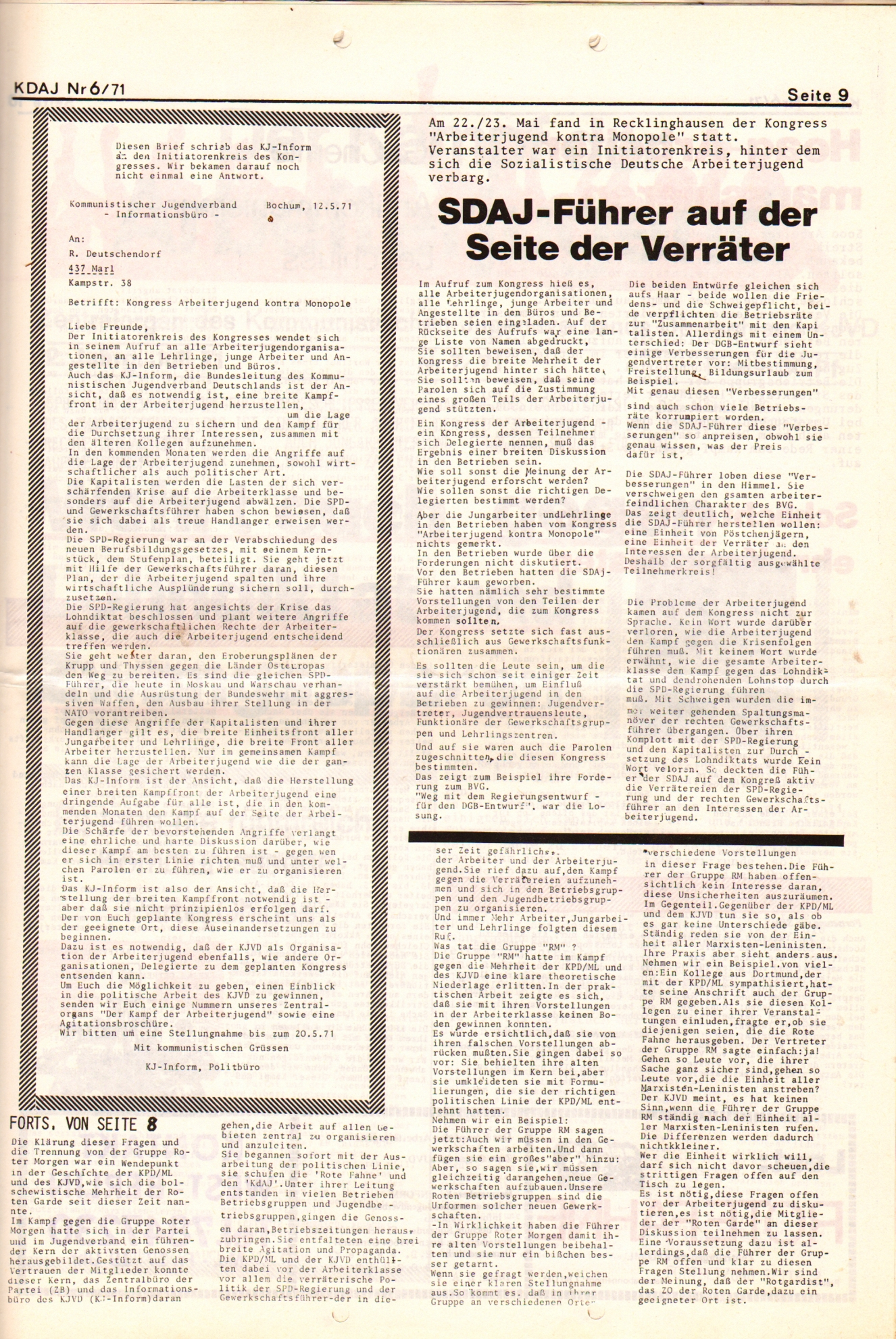 KDAJ, 2. Jg., Juni 1971, Nr. 6, Seite 9