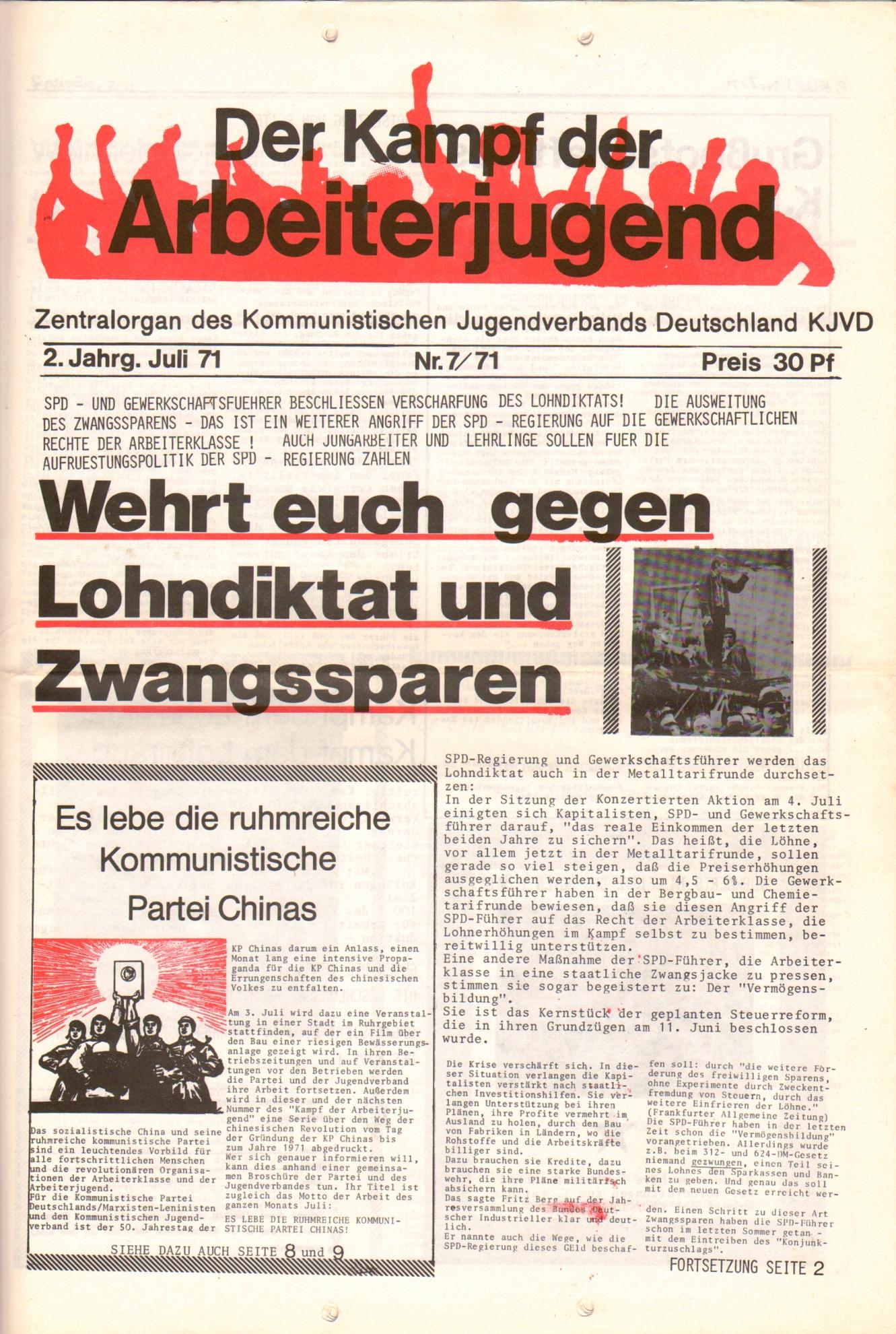 KDAJ, 2. Jg., Juli 1971, Nr. 7, Seite 1