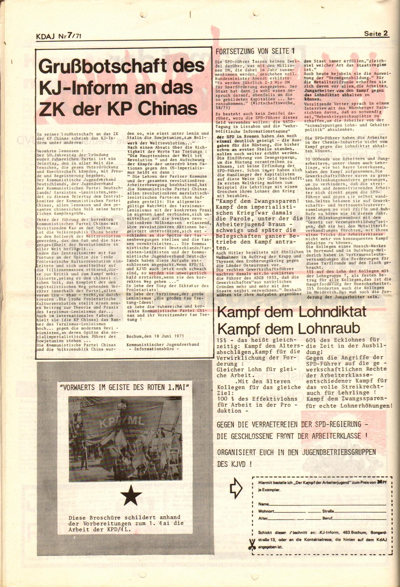 KDAJ, 2. Jg., Juli 1971, Nr. 7, Seite 2