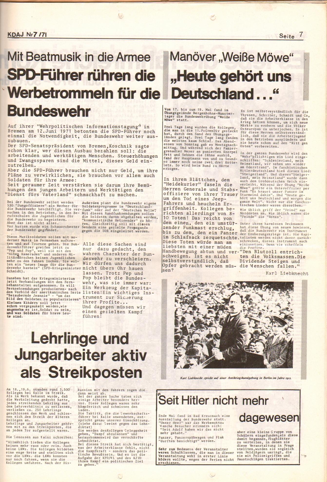 KDAJ, 2. Jg., Juli 1971, Nr. 7, Seite 7