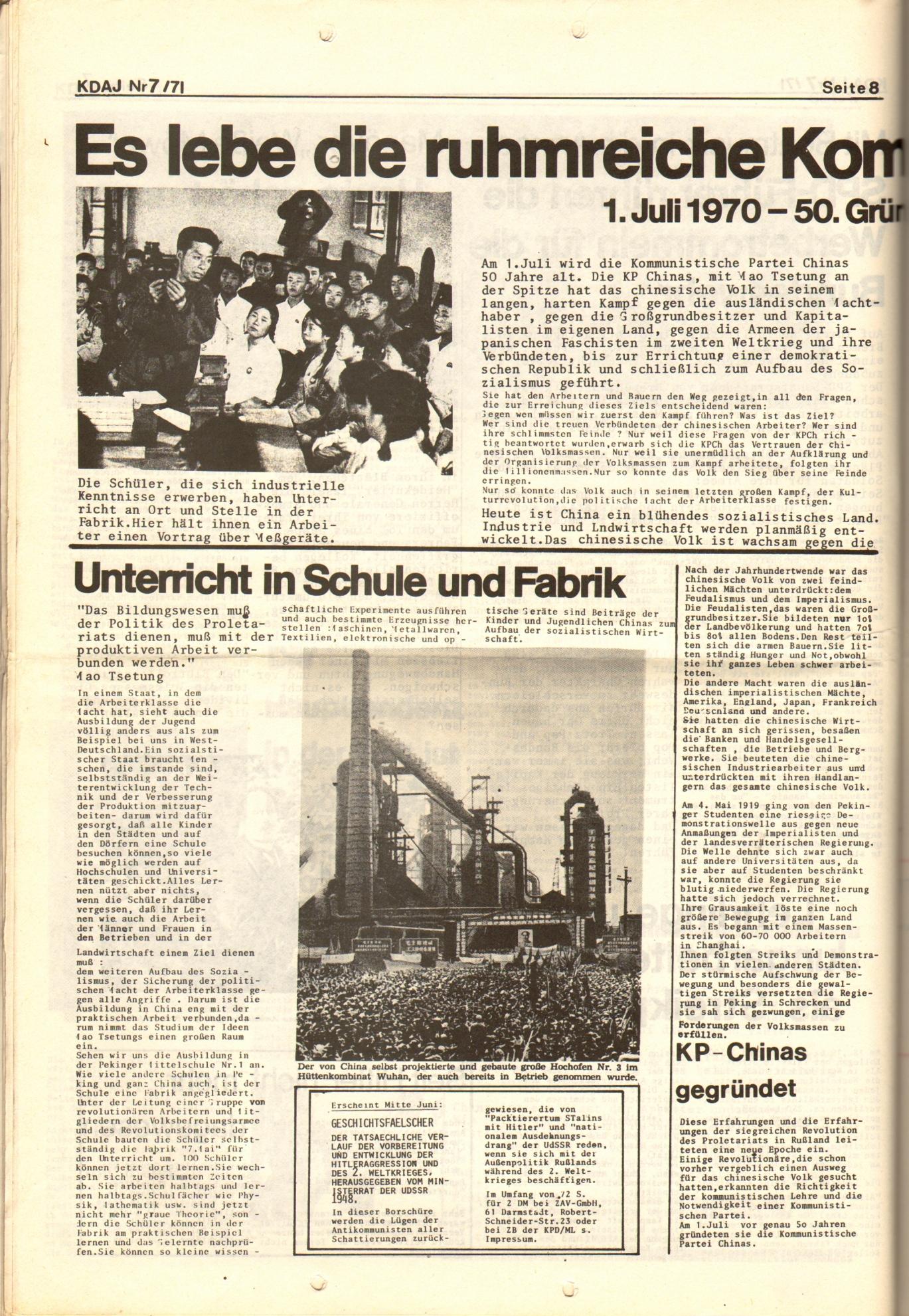 KDAJ, 2. Jg., Juli 1971, Nr. 7, Seite 8