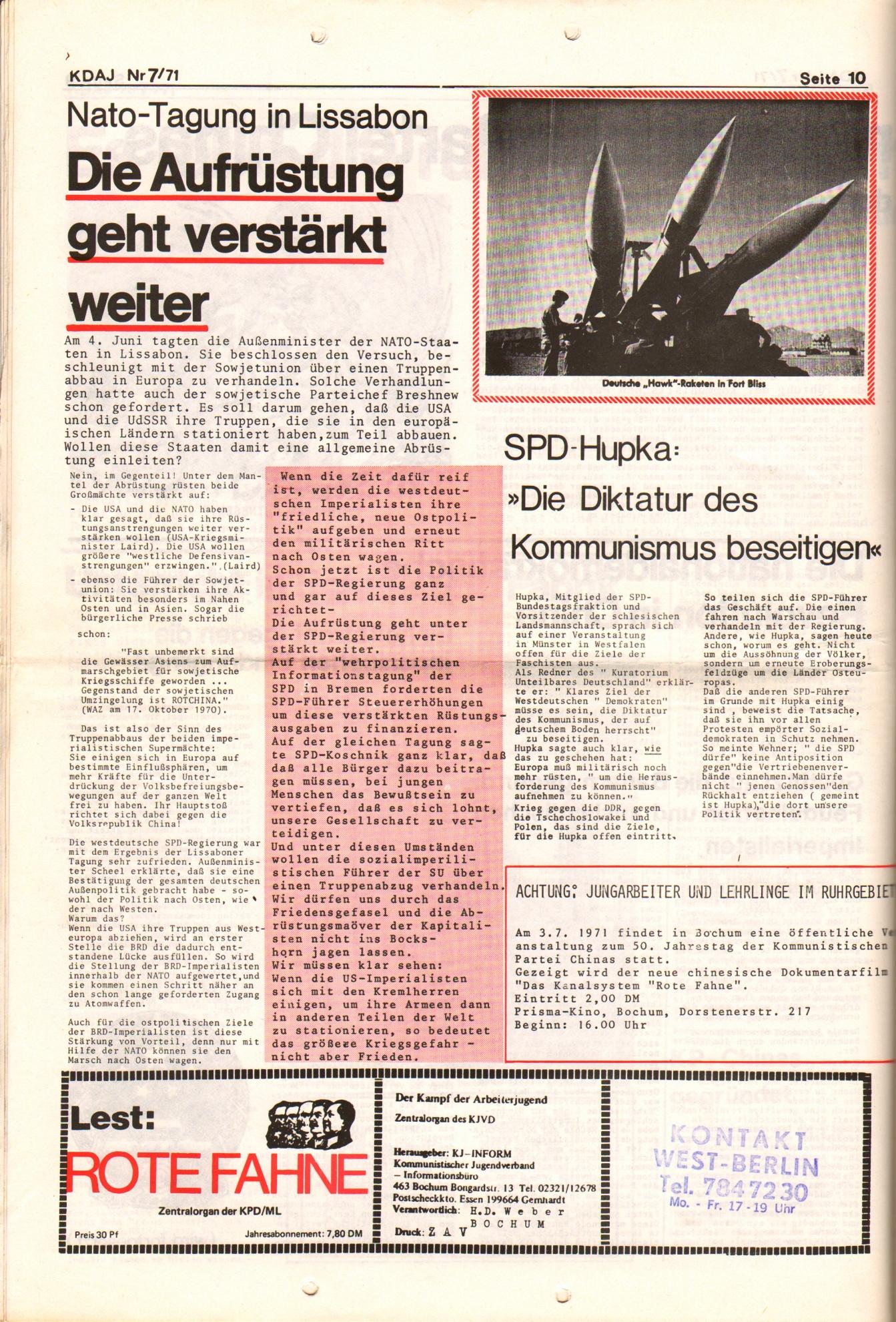 KDAJ, 2. Jg., Juli 1971, Nr. 7, Seite 10