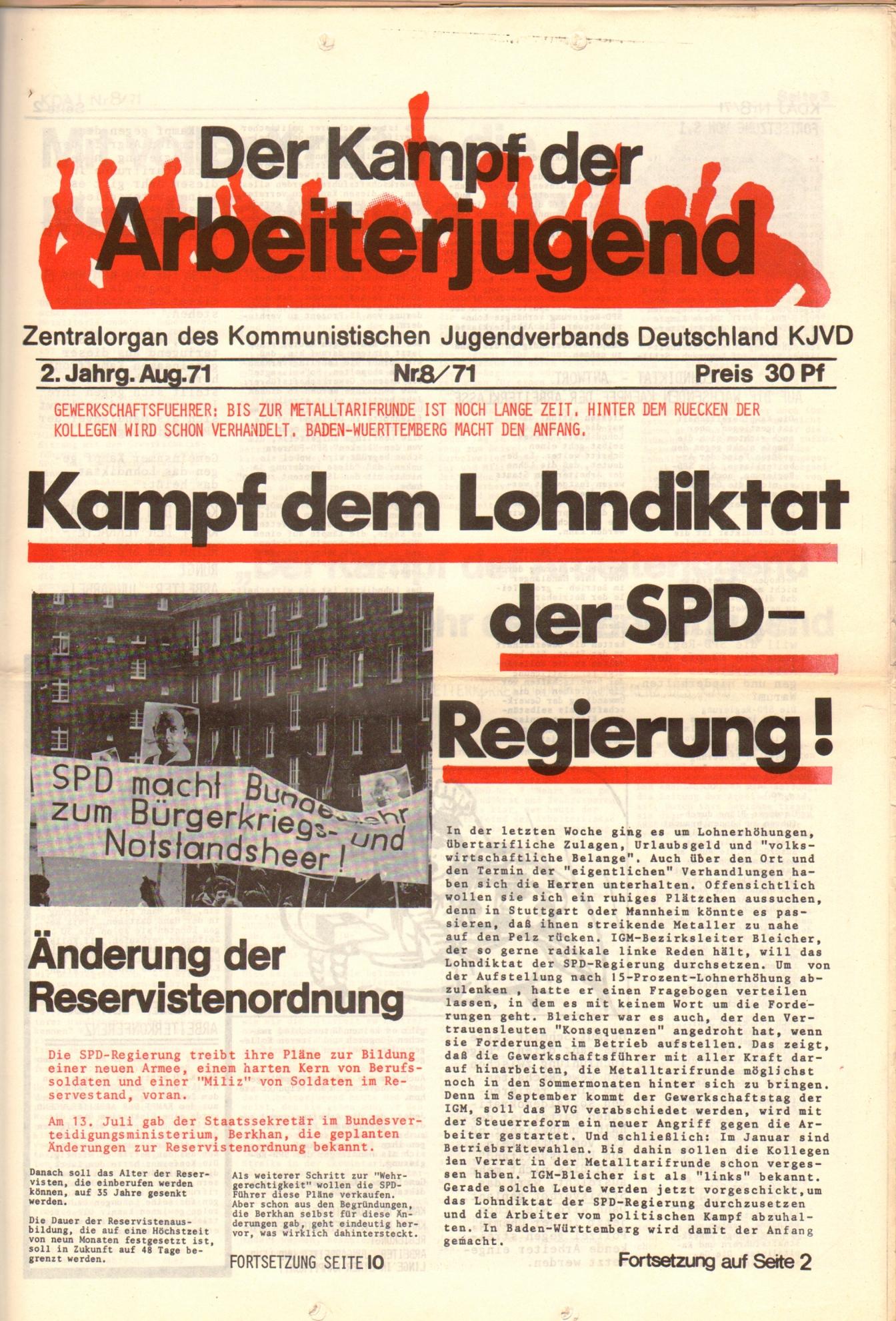 KDAJ, 2. Jg., August 1971, Nr. 8, Seite 1