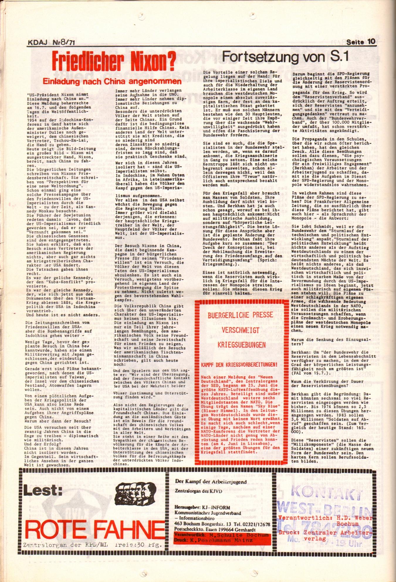 KDAJ, 2. Jg., August 1971, Nr. 8, Seite 10
