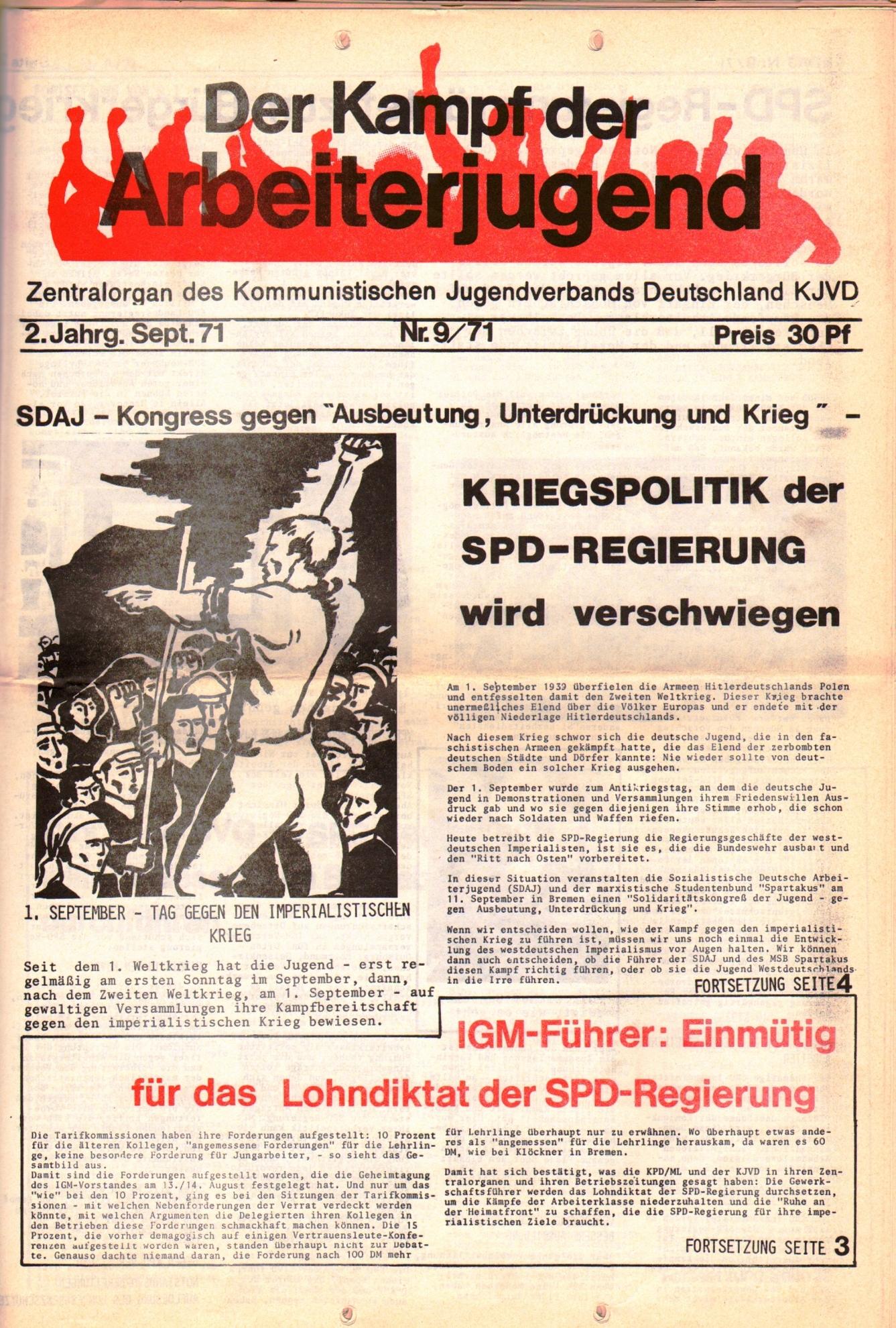 KDAJ, 2. Jg., September 1971, Nr. 9, Seite 1