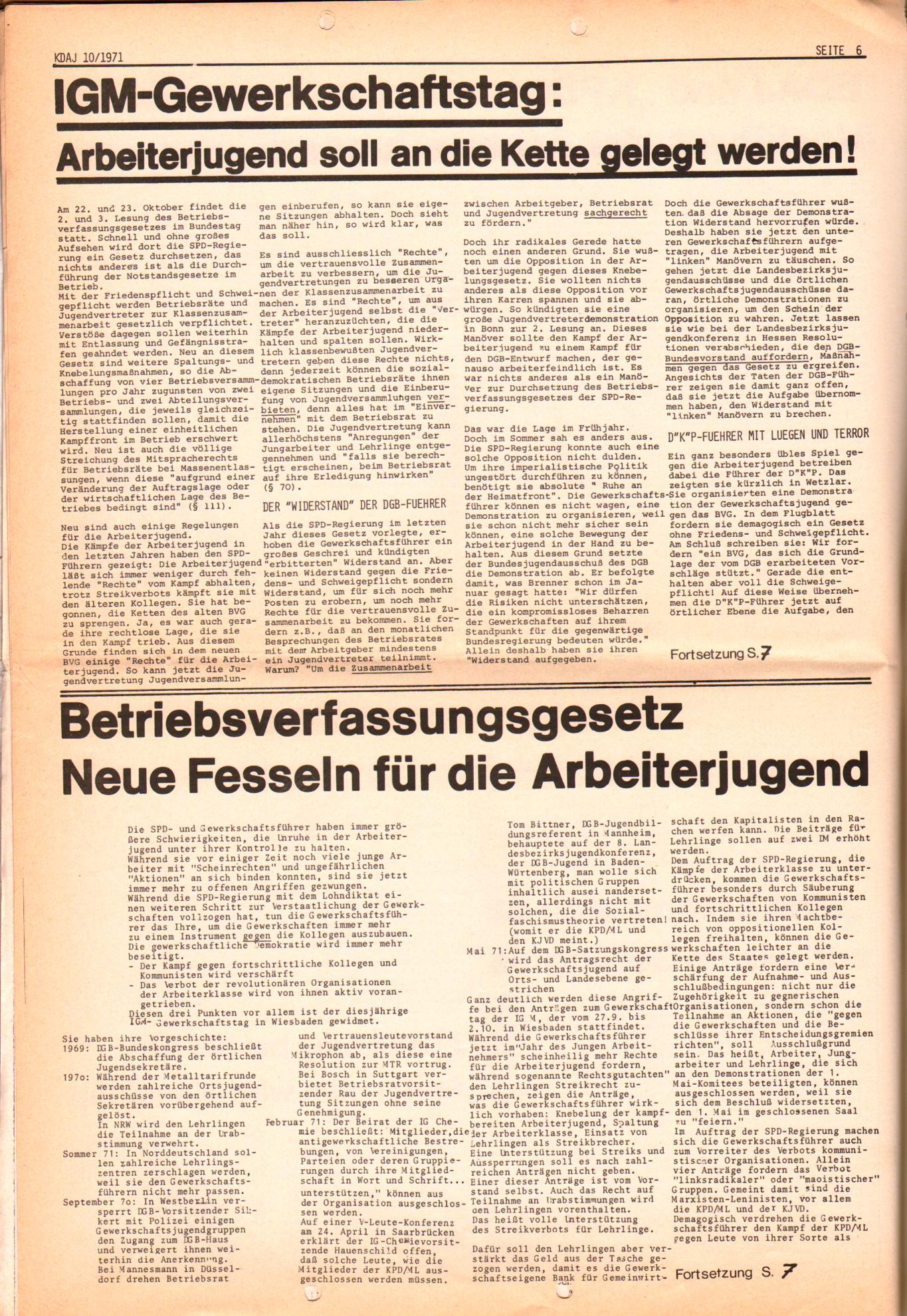 KDAJ, 2. Jg., Oktober 1971, Nr. 10, Seite 6