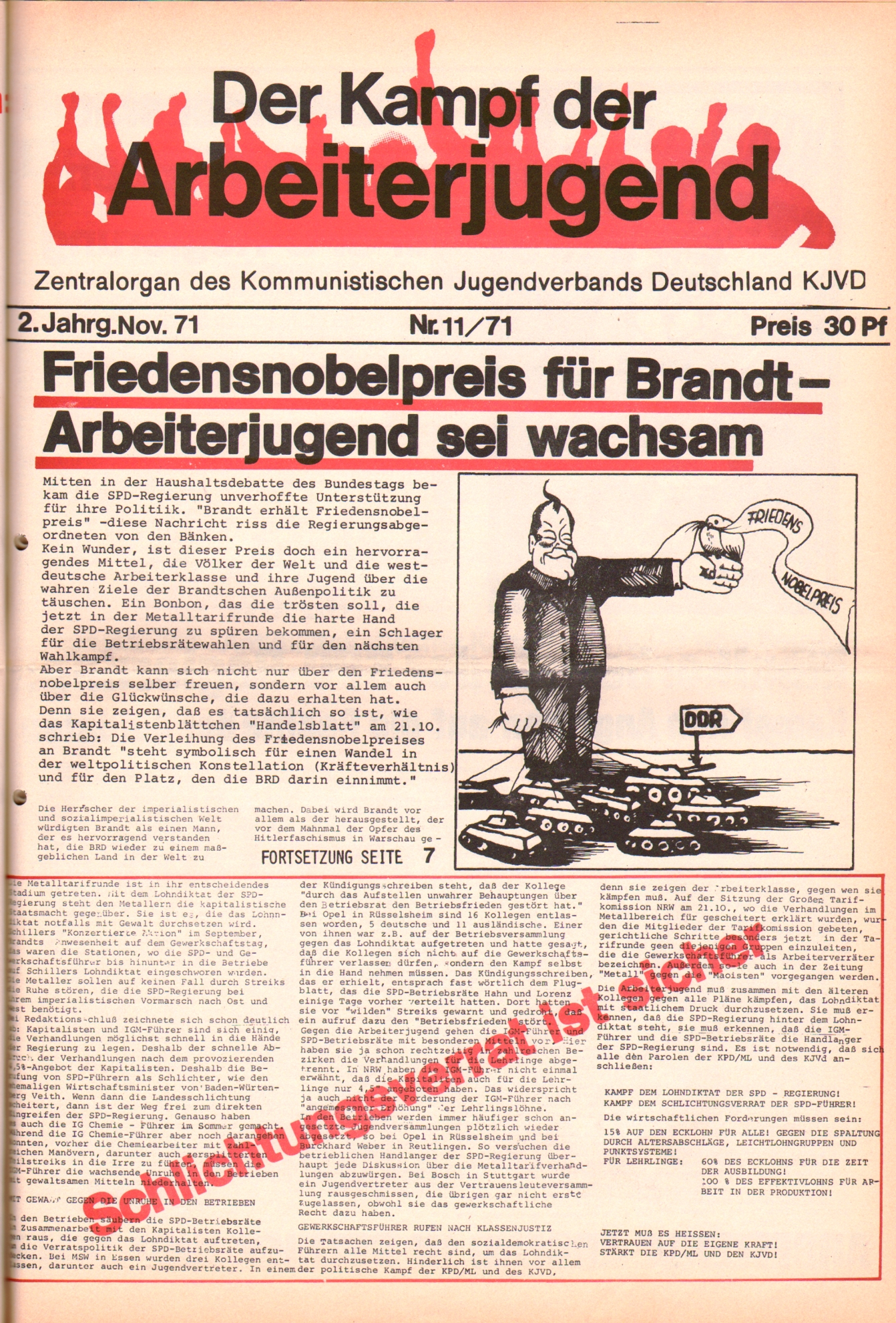 KDAJ, 2. Jg., November 1971, Nr. 11, Seite 1