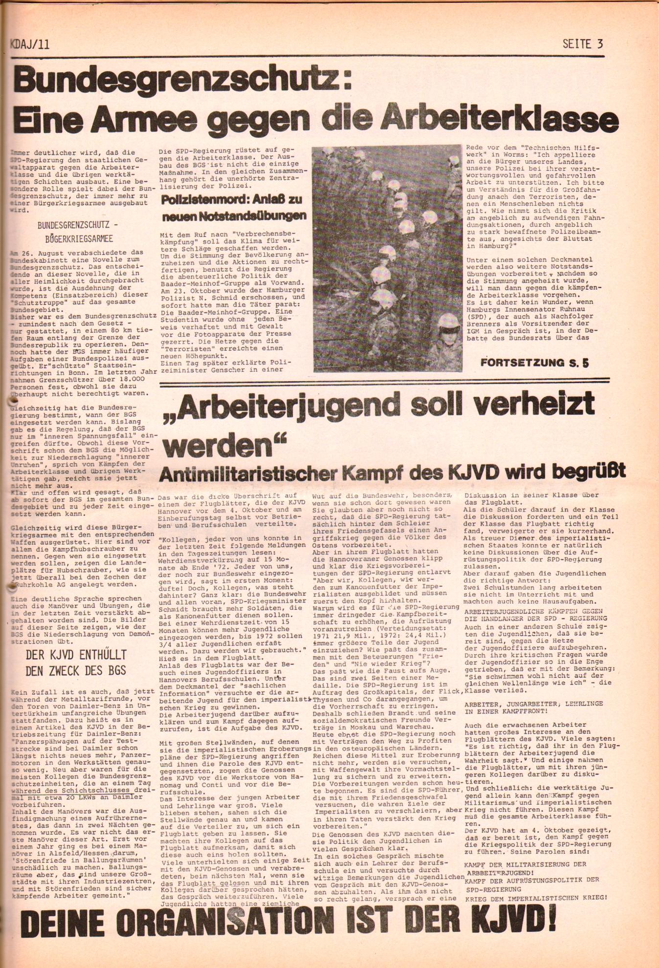 KDAJ, 2. Jg., November 1971, Nr. 11, Seite 3
