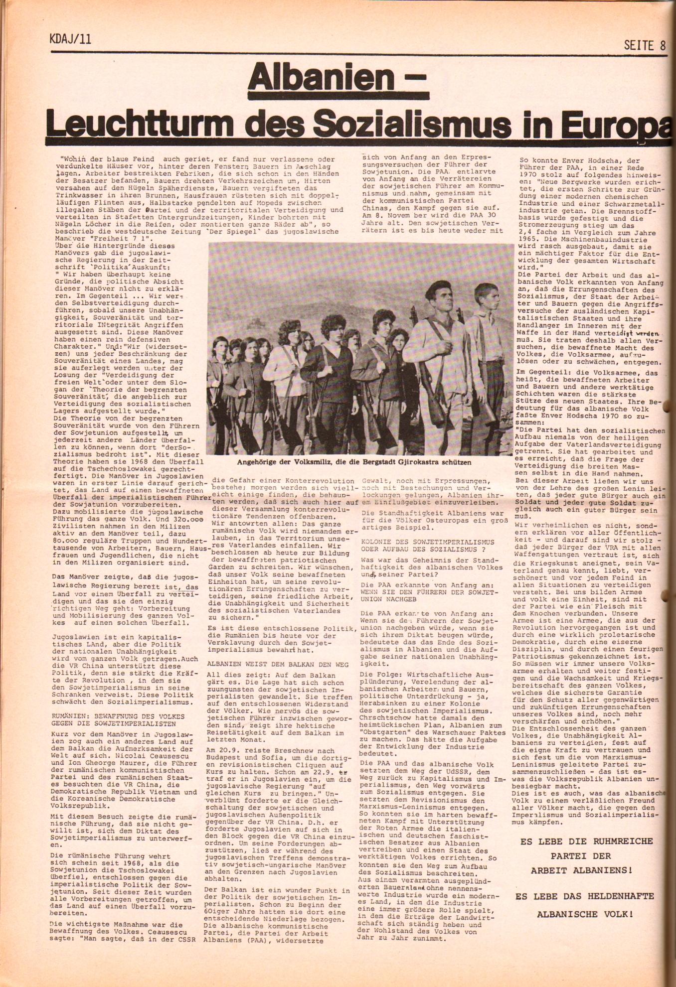 KDAJ, 2. Jg., November 1971, Nr. 11, Seite 8