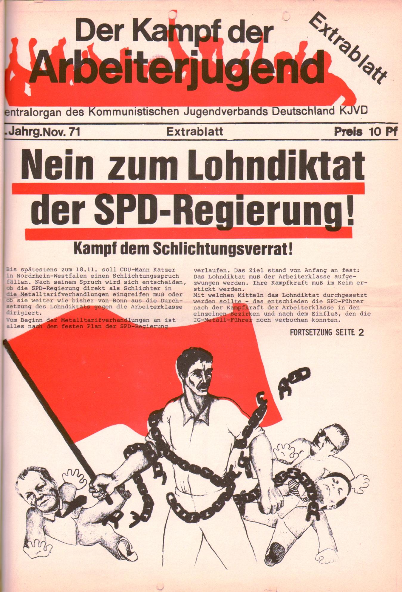 KDAJ, 2. Jg., November 1971, Extrablatt, Seite 1