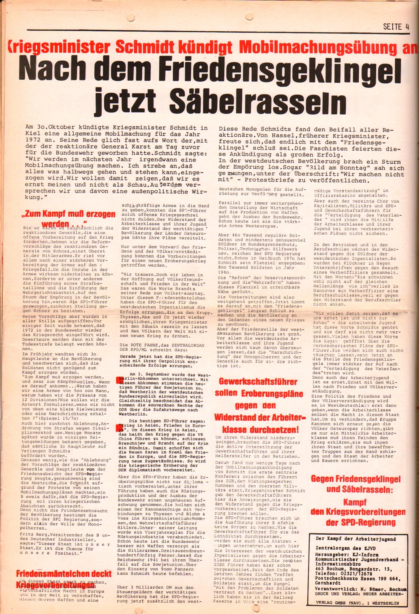 KDAJ, 2. Jg., November 1971, Extrablatt, Seite 4