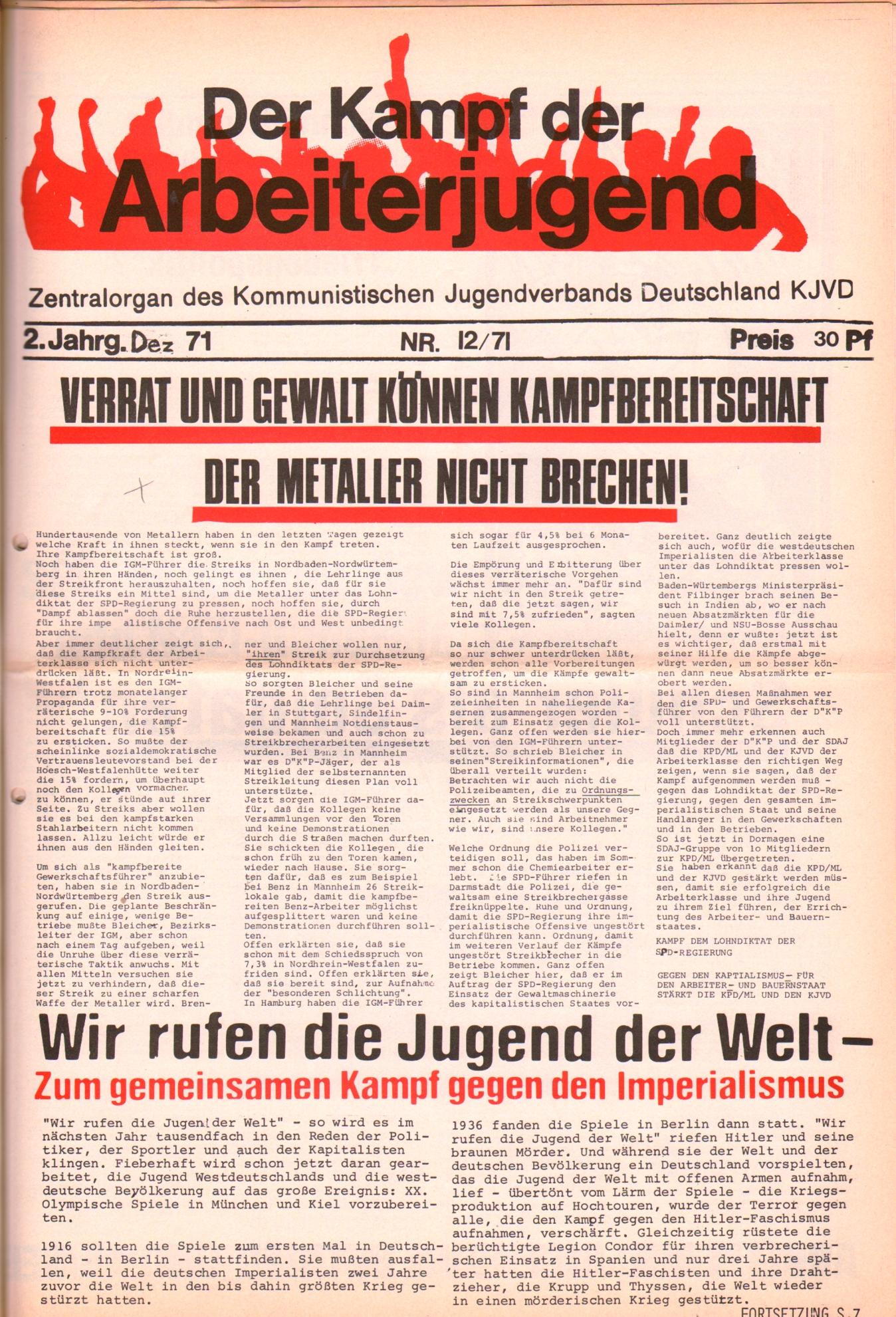 KDAJ, 2. Jg., Dezember 1971, Nr. 12, Seite 1