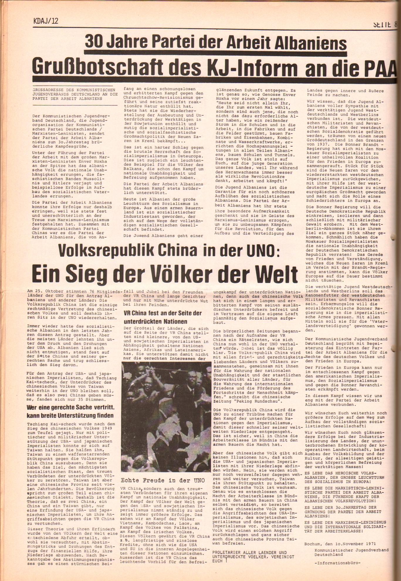 KDAJ, 2. Jg., Dezember 1971, Nr. 12, Seite 8