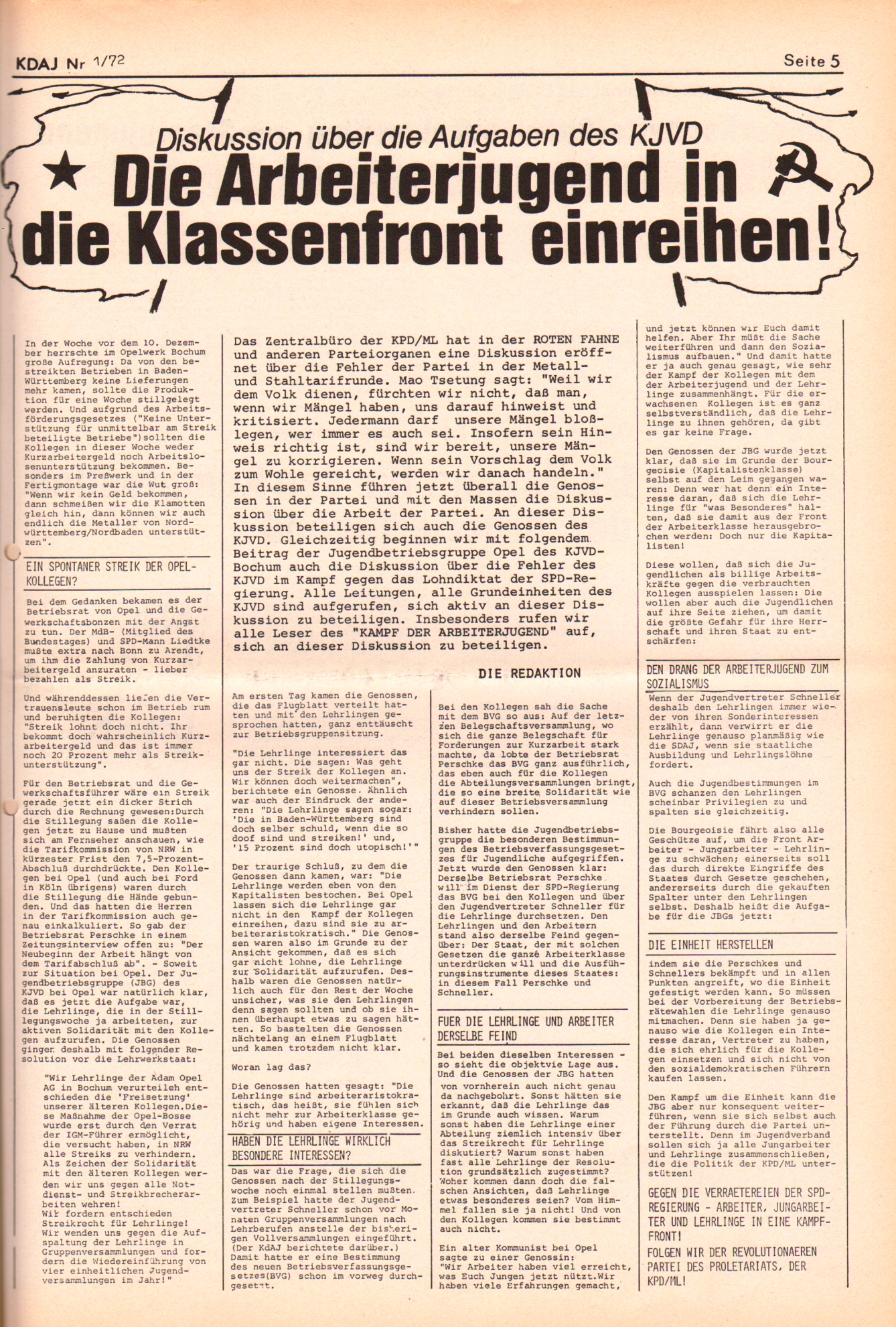 KDAJ, 3. Jg., Januar/Februar 1972, Nr. 1, Seite 5