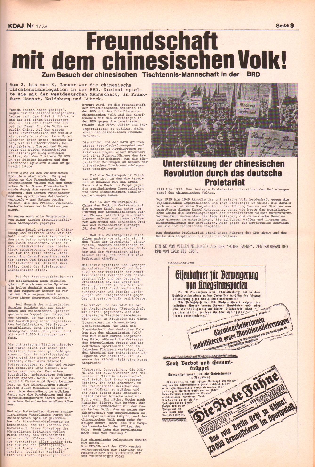 KDAJ, 3. Jg., Januar/Februar 1972, Nr. 1, Seite 9