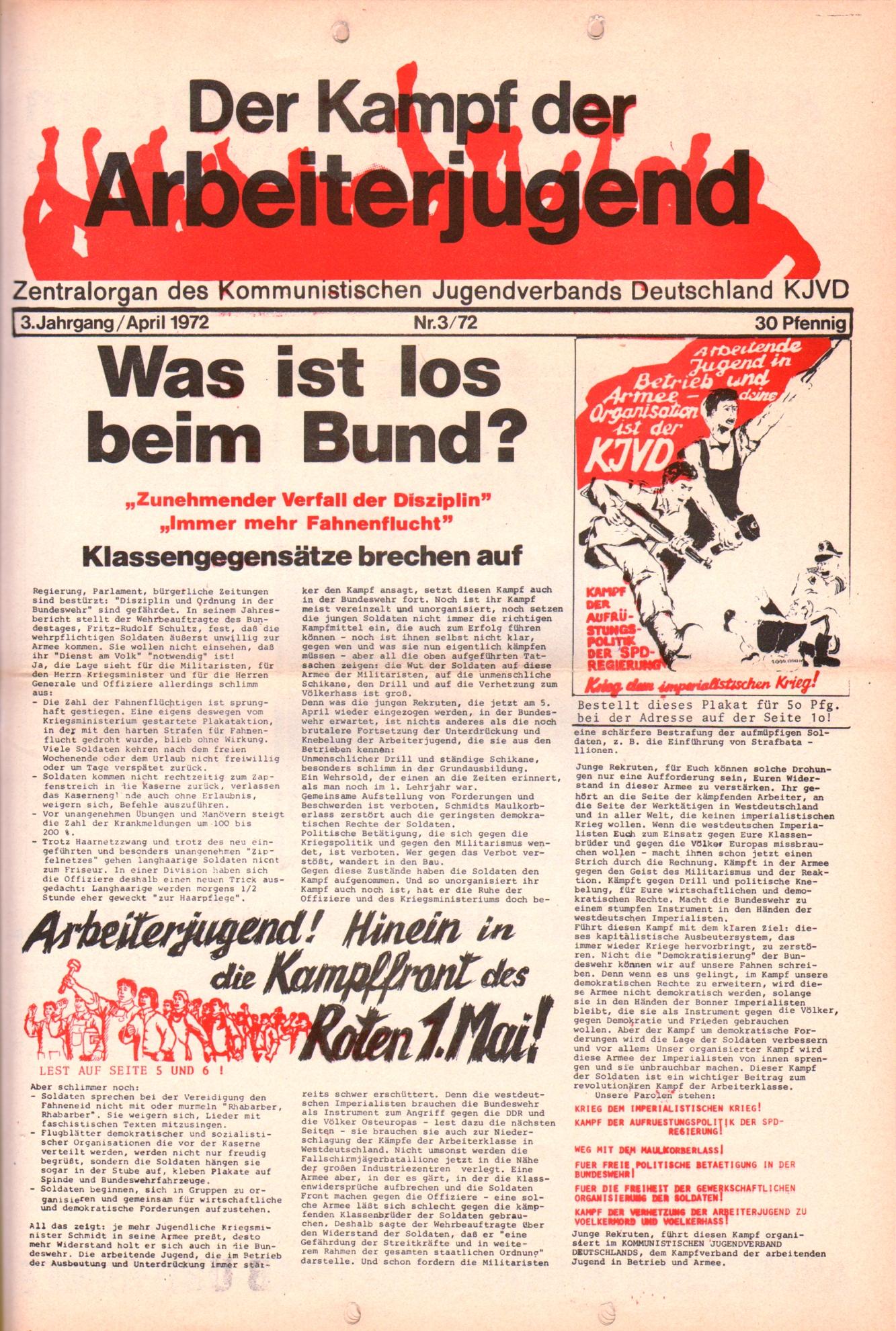 KDAJ, 3. Jg., April 1972, Nr. 3, Seite 1