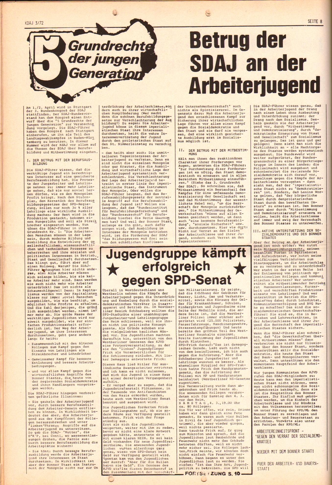 KDAJ, 3. Jg., April 1972, Nr. 3, Seite 8
