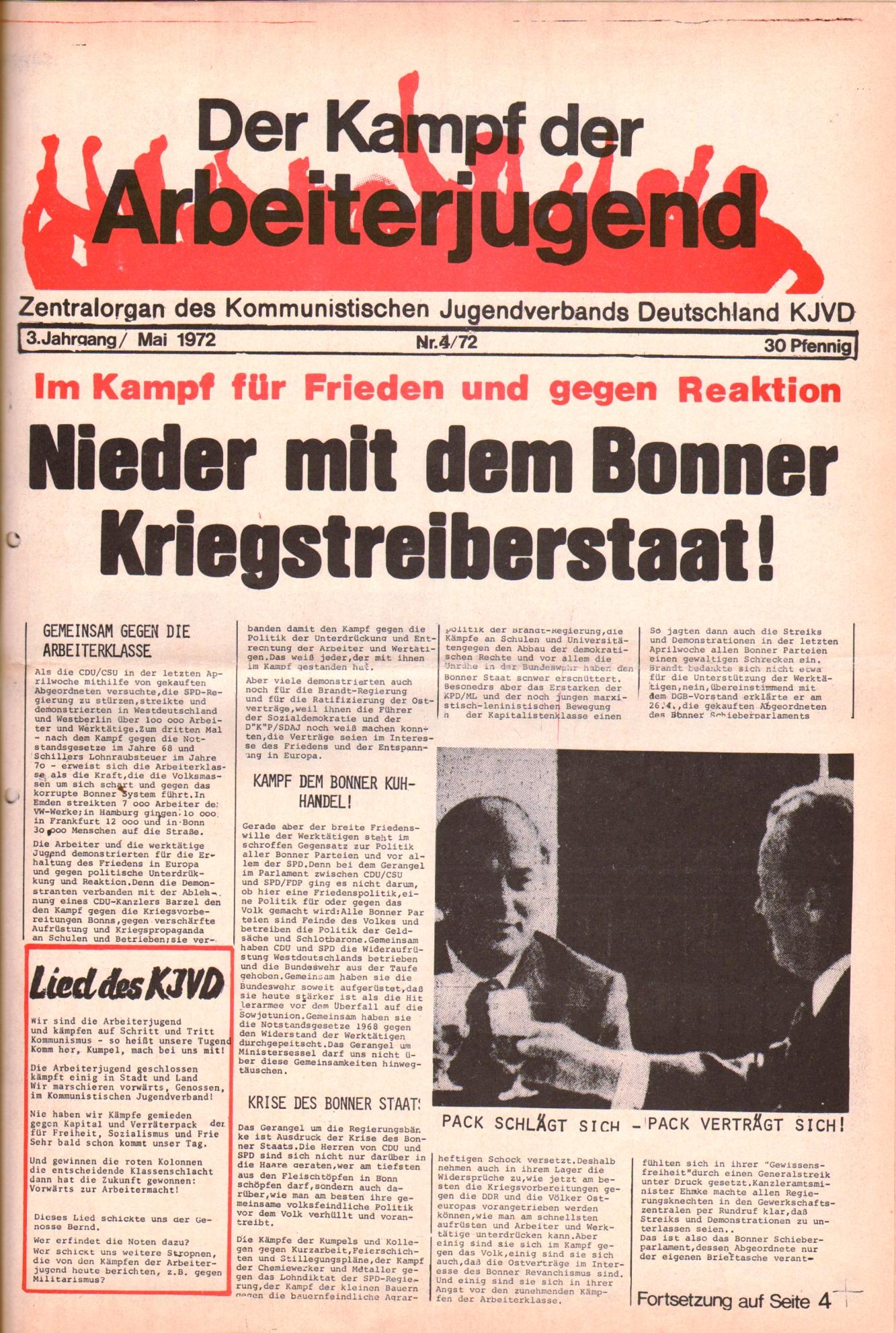 KDAJ, 3. Jg., Mai 1972, Nr. 4, Seite 1