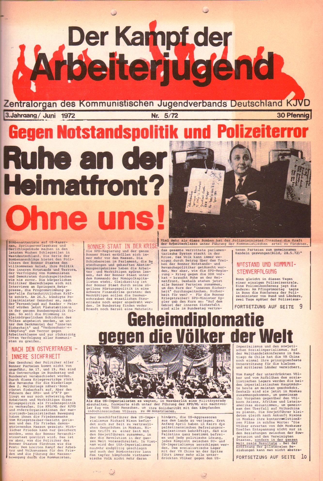 KDAJ, 3. Jg., Juni 1972, Nr. 5, Seite 1