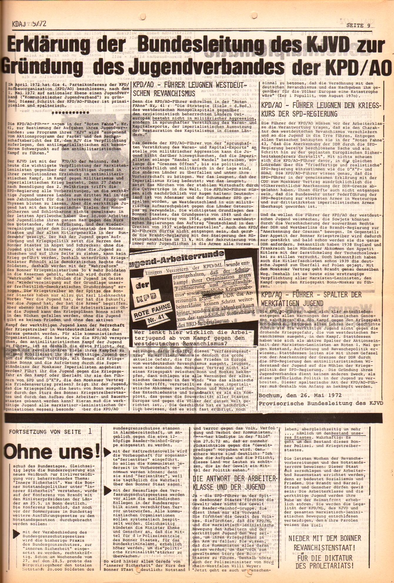 KDAJ, 3. Jg., Juni 1972, Nr. 5, Seite 9