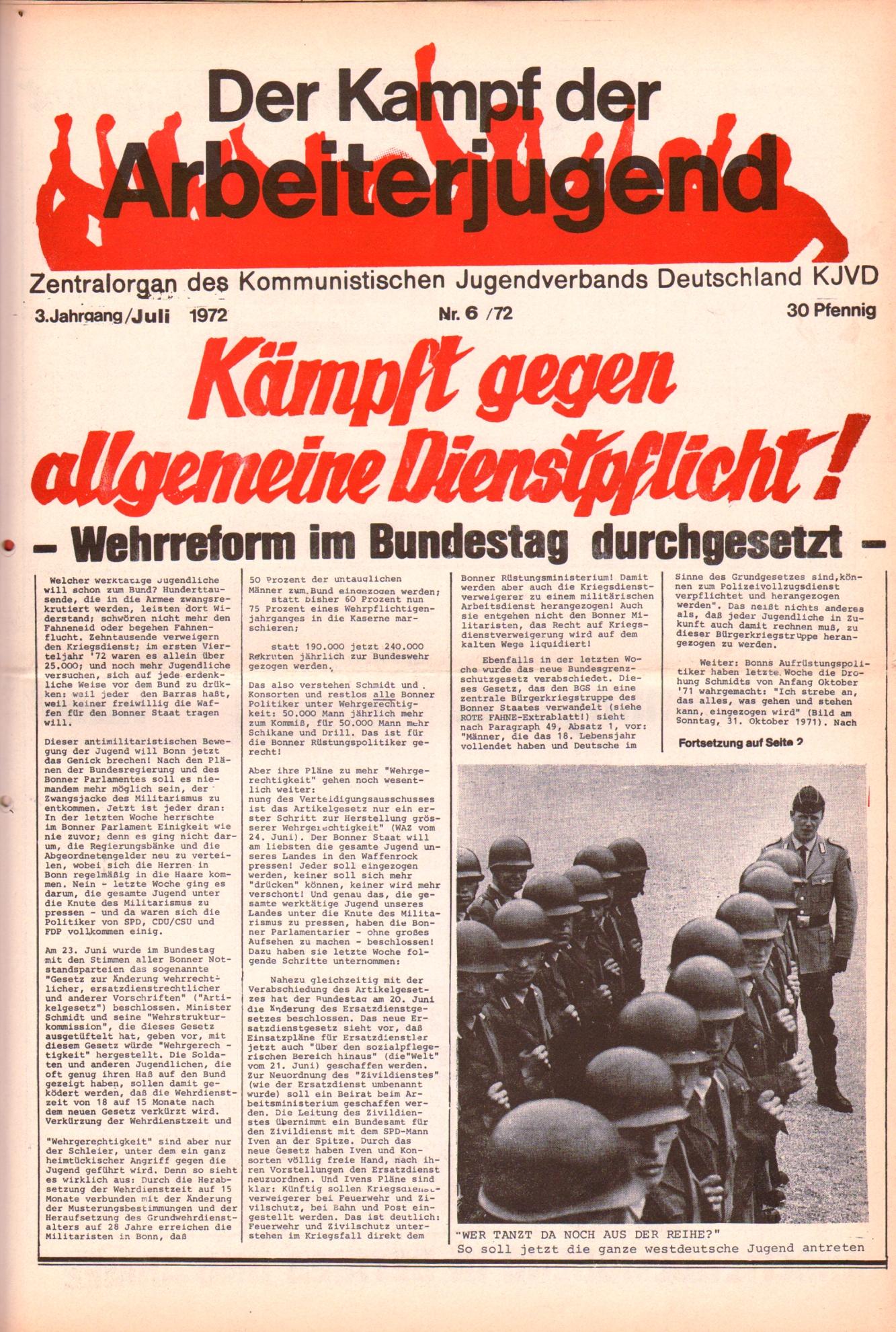 KDAJ, 3. Jg., Juli 1972, Nr. 6, Seite 1