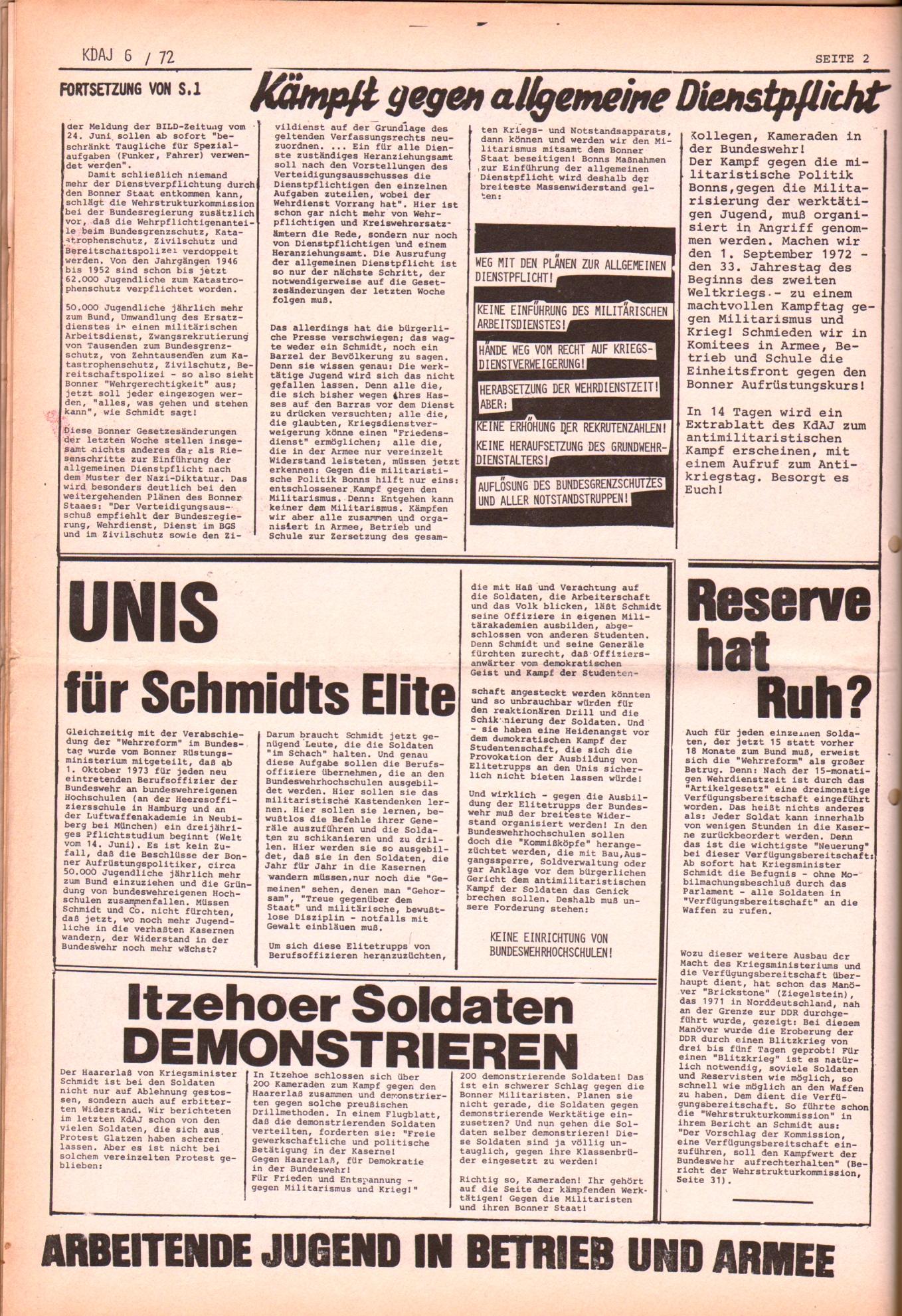 KDAJ, 3. Jg., Juli 1972, Nr. 6, Seite 2