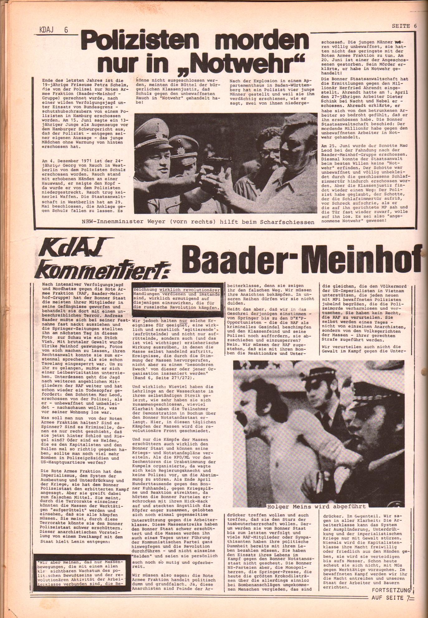 KDAJ, 3. Jg., Juli 1972, Nr. 6, Seite 6