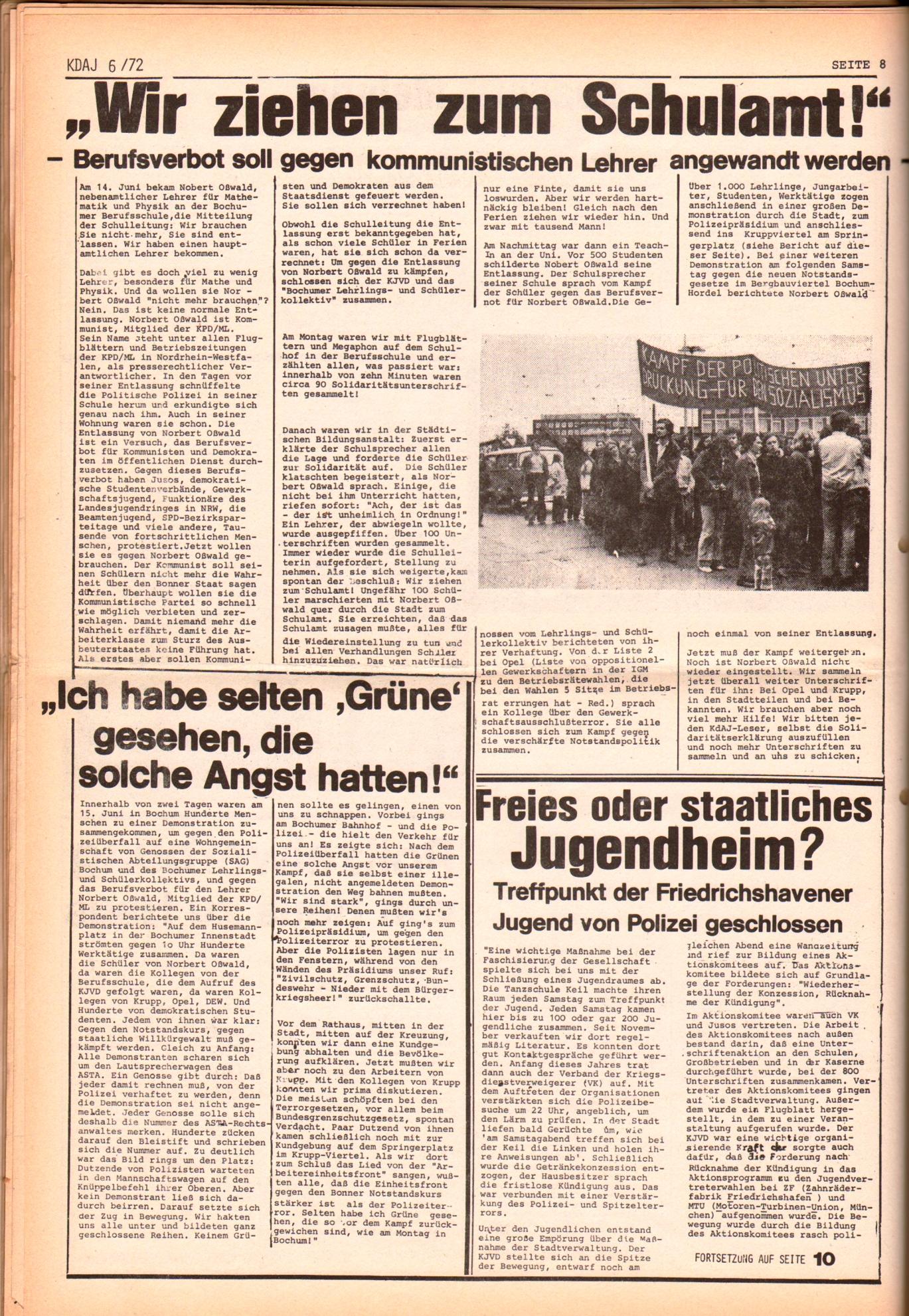 KDAJ, 3. Jg., Juli 1972, Nr. 6, Seite 8