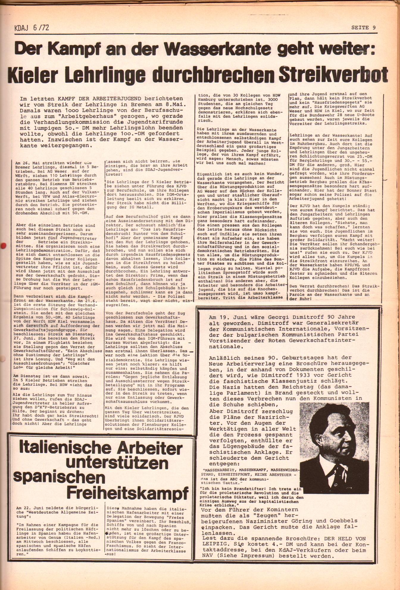 KDAJ, 3. Jg., Juli 1972, Nr. 6, Seite 9