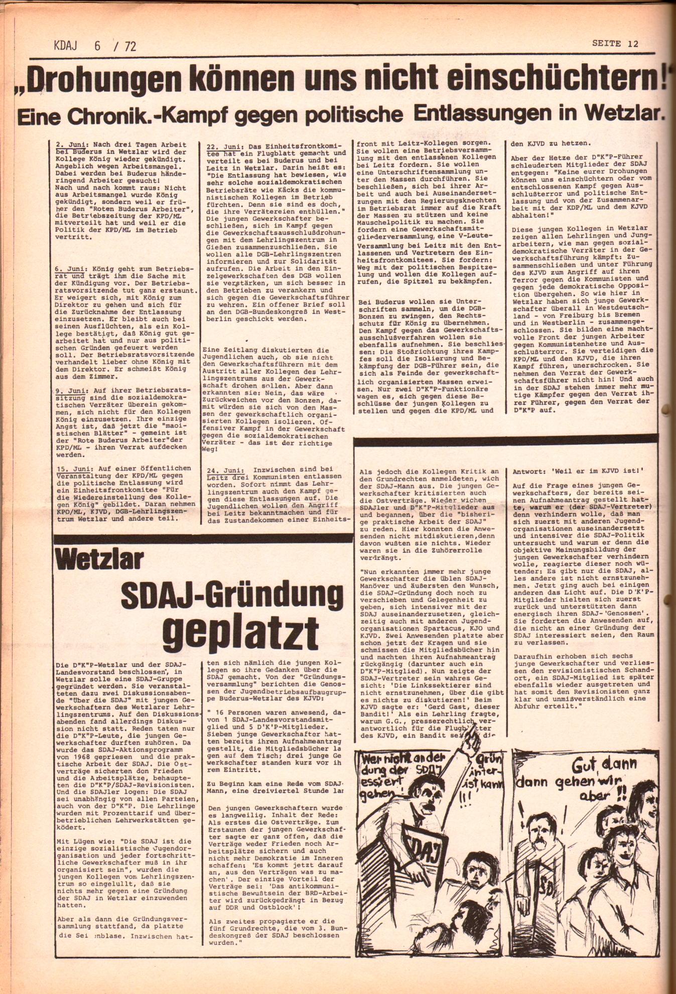 KDAJ, 3. Jg., Juli 1972, Nr. 6, Seite 12