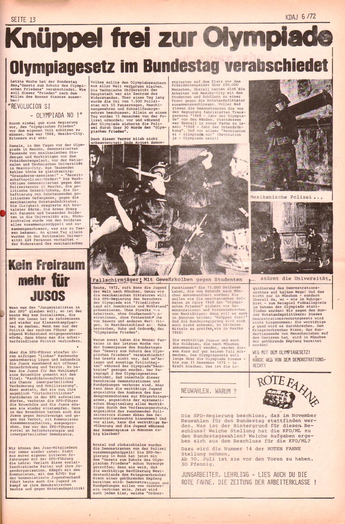 KDAJ, 3. Jg., Juli 1972, Nr. 6, Seite 13