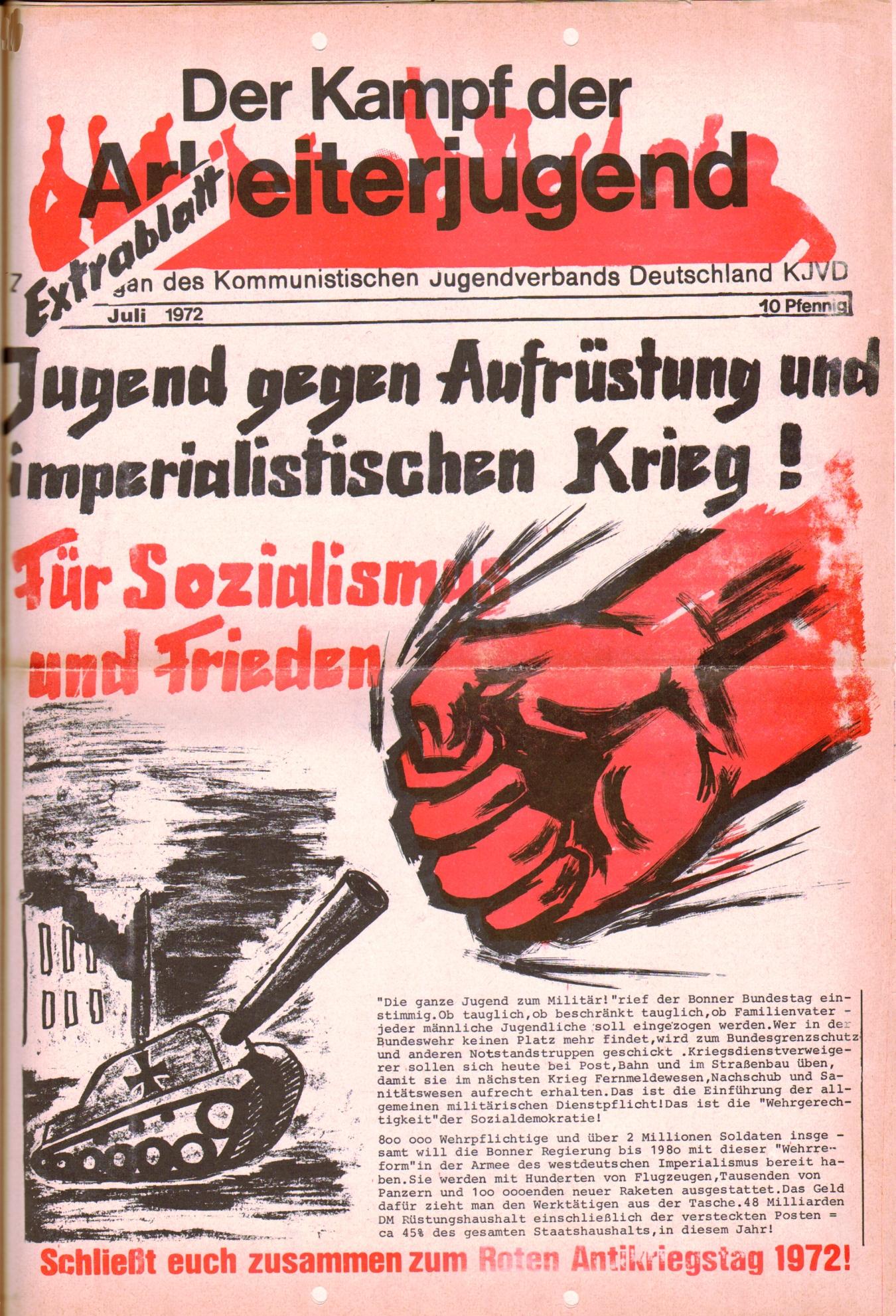 KDAJ, 3. Jg., Juli 1972, Extrablatt, Seite 1