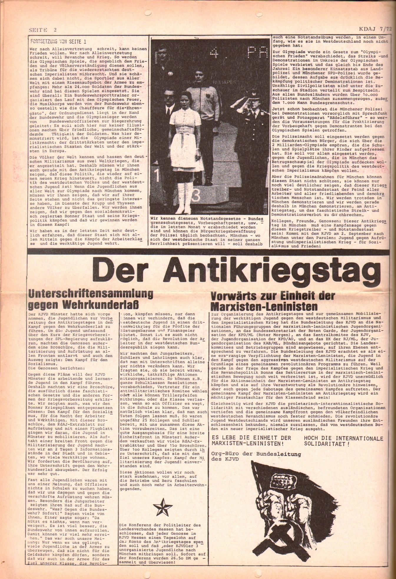 KDAJ, 3. Jg., August 1972, Nr. 7, Seite 2