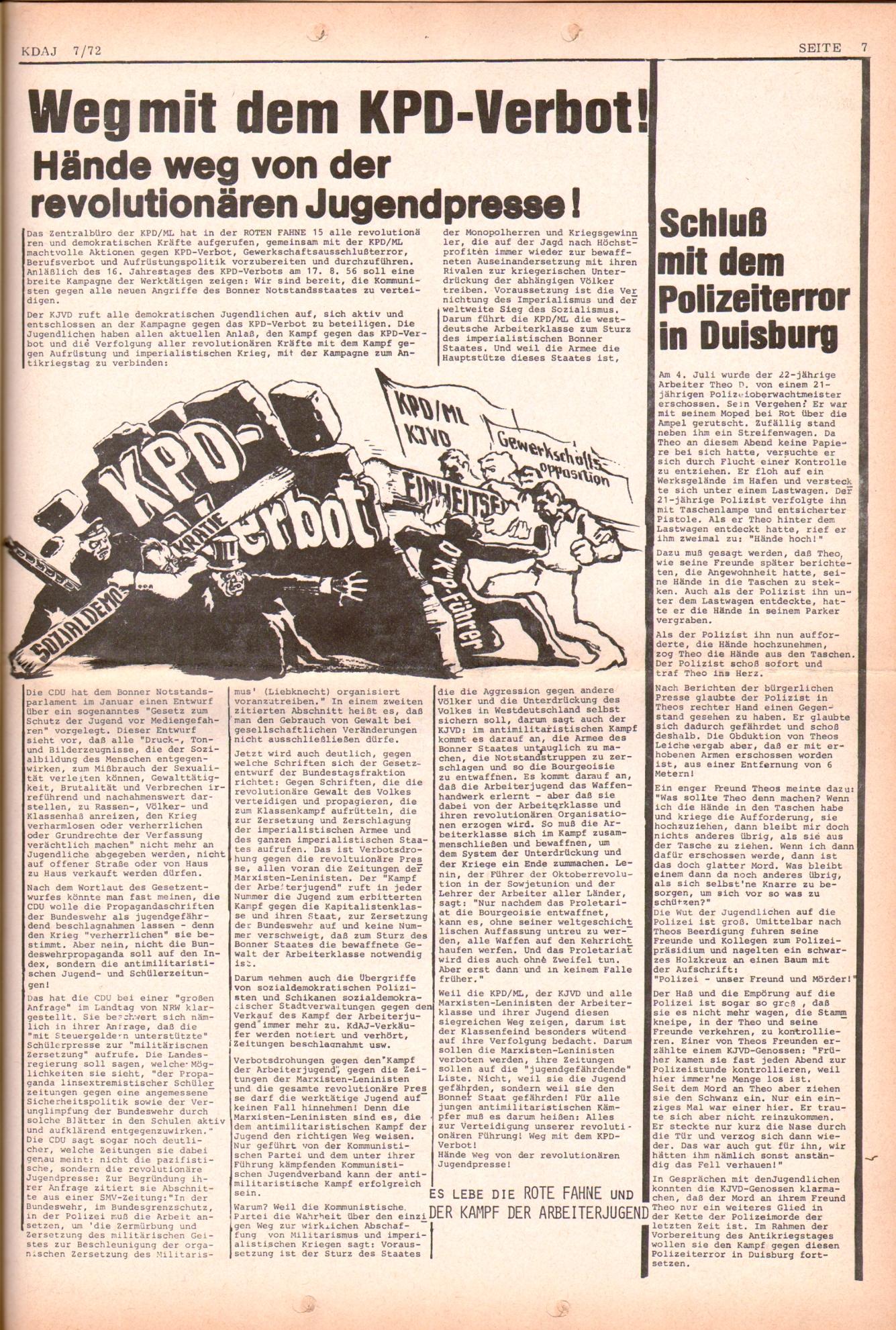 KDAJ, 3. Jg., August 1972, Nr. 7, Seite 7