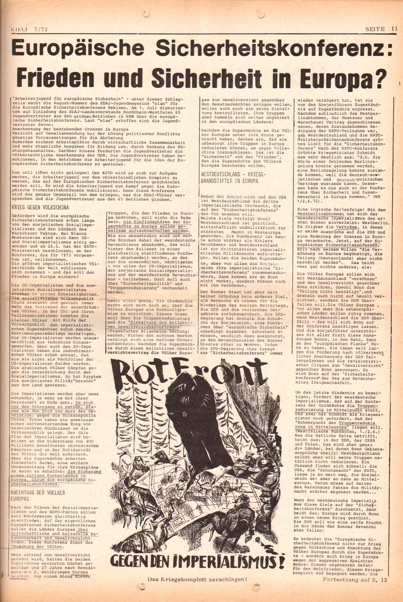 KDAJ, 3. Jg., August 1972, Nr. 7, Seite 11