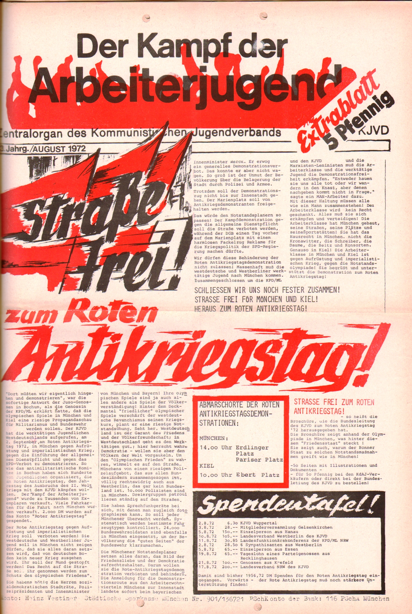 KDAJ, 3. Jg., August 1972, Extrablatt, Seite 1