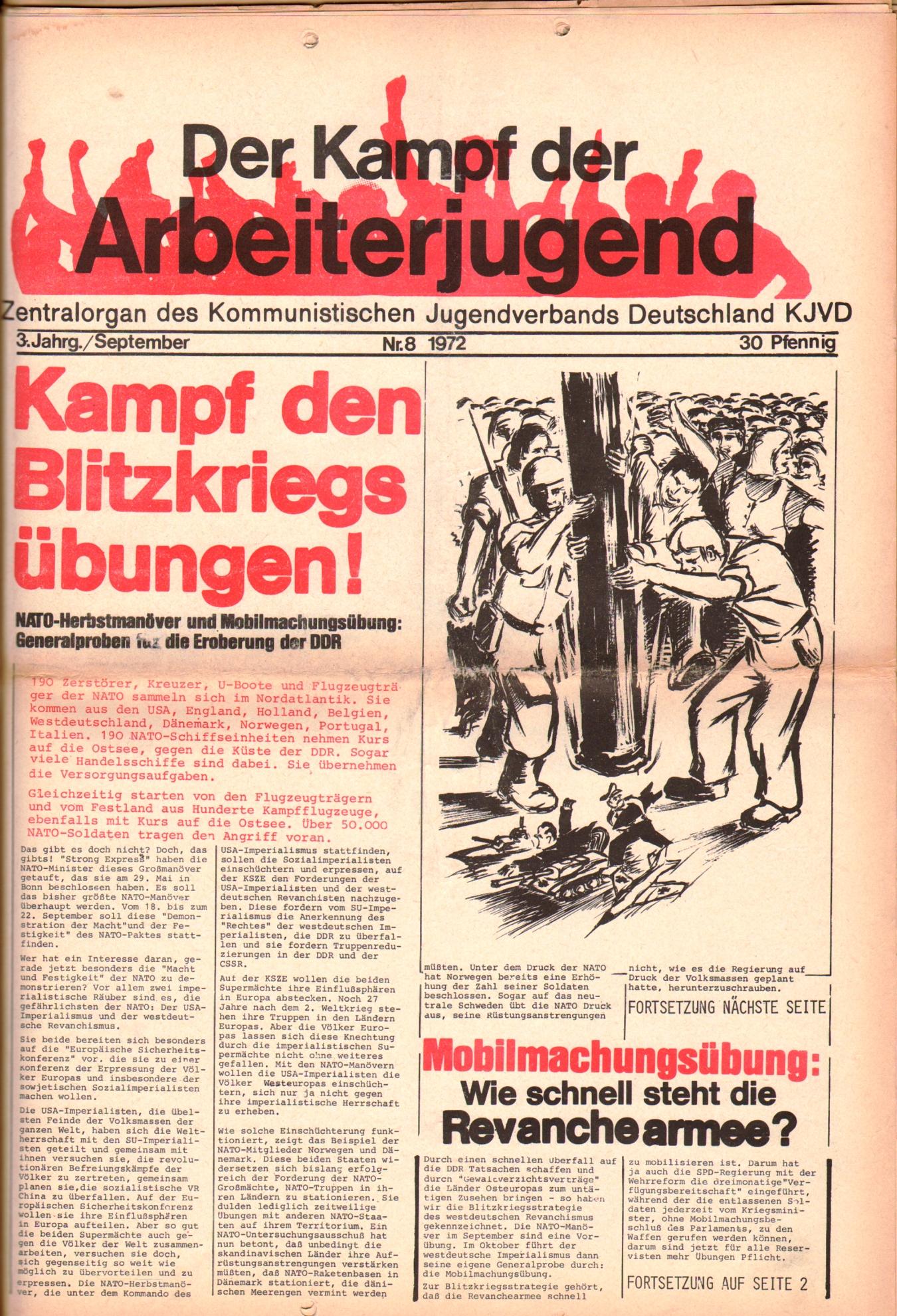 KDAJ, 3. Jg., September 1972, Nr. 8, Seite 1