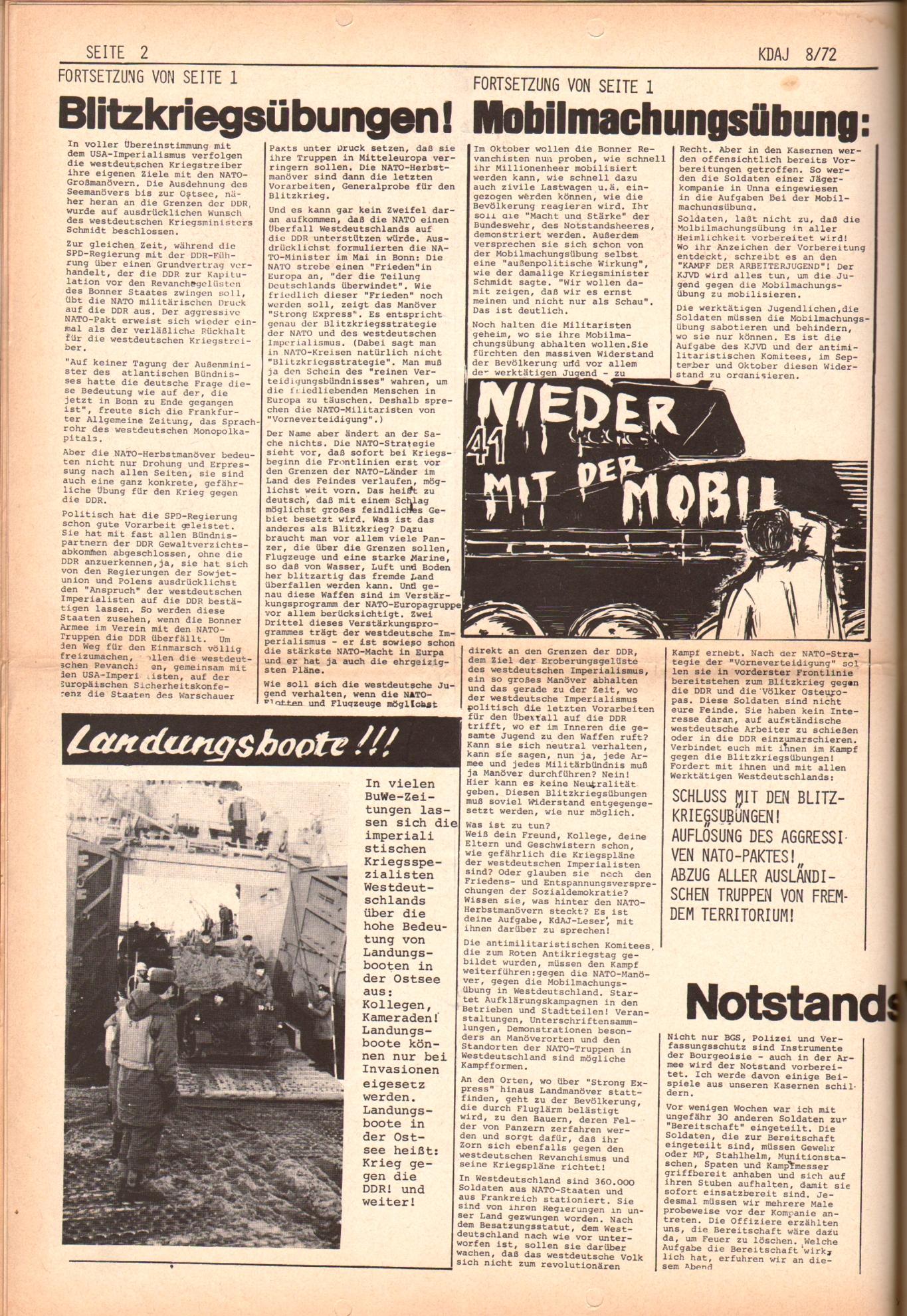 KDAJ, 3. Jg., September 1972, Nr. 8, Seite 2