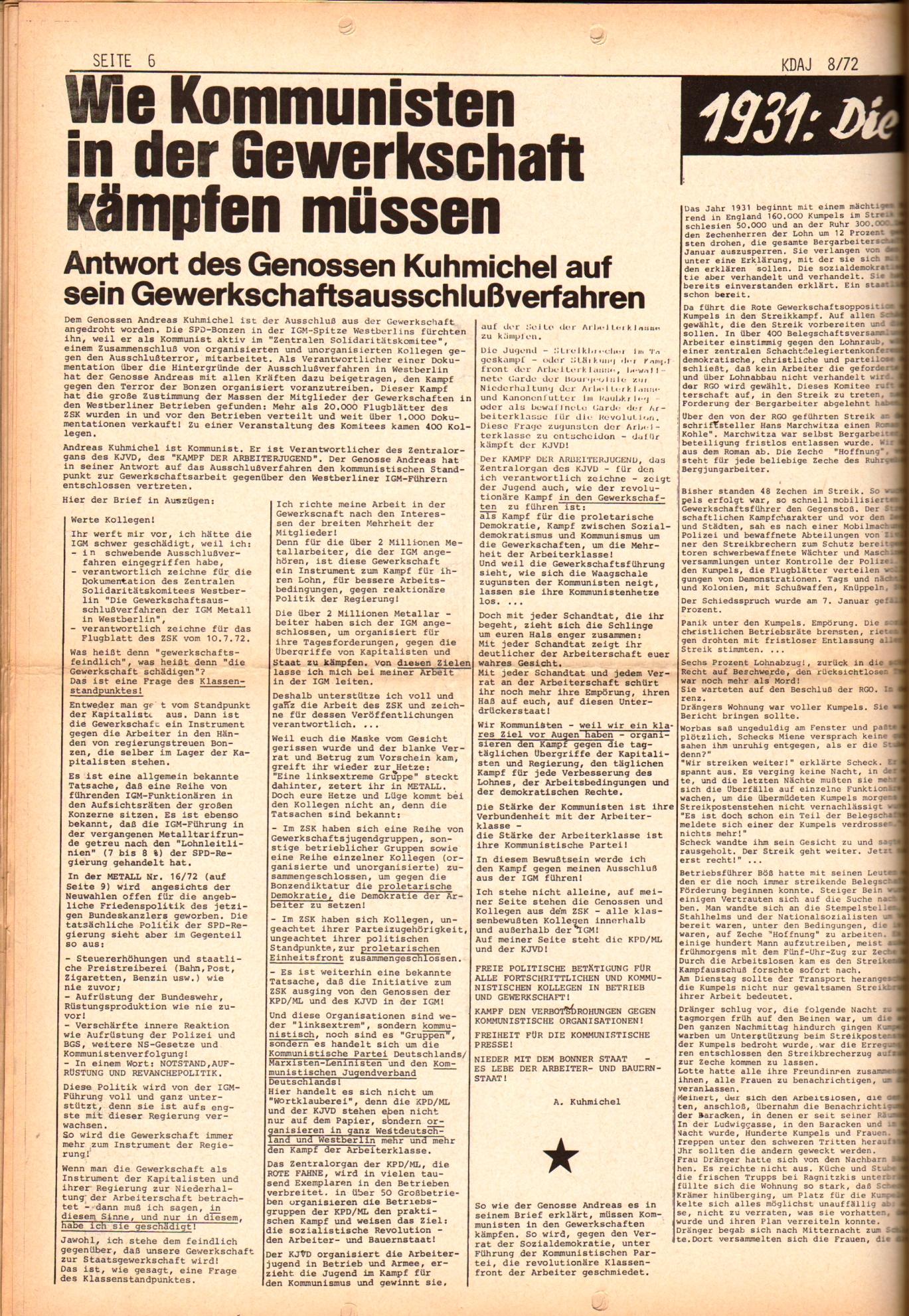 KDAJ, 3. Jg., September 1972, Nr. 8, Seite 6