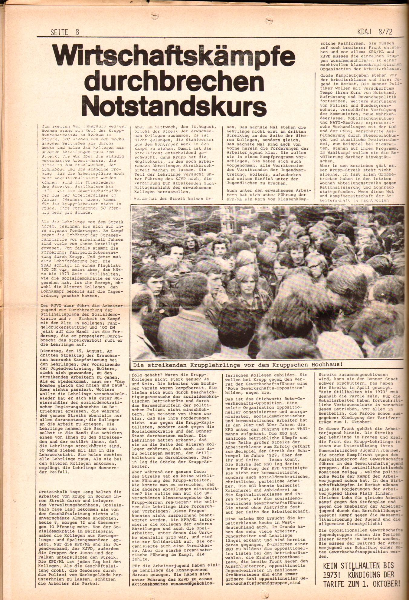 KDAJ, 3. Jg., September 1972, Nr. 8, Seite 8