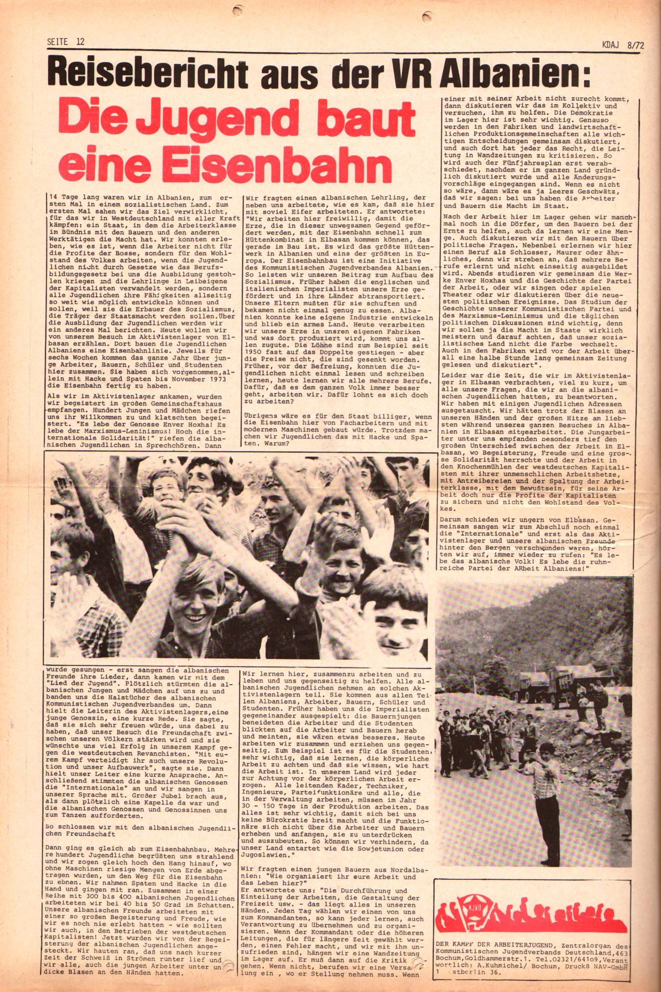 KDAJ, 3. Jg., September 1972, Nr. 8, Seite 12