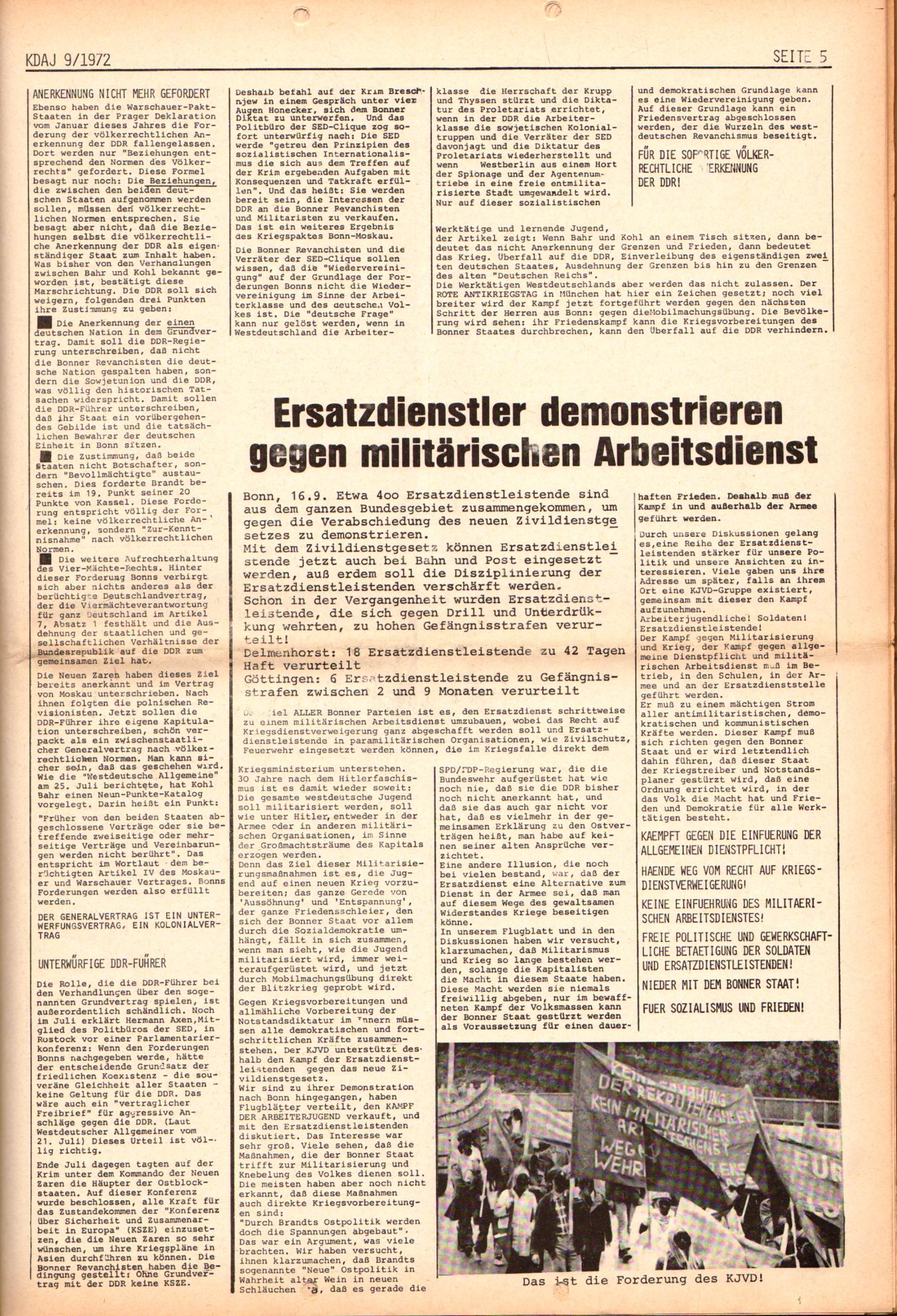 KDAJ, 3. Jg., Oktober 1972, Nr. 9, Seite 5