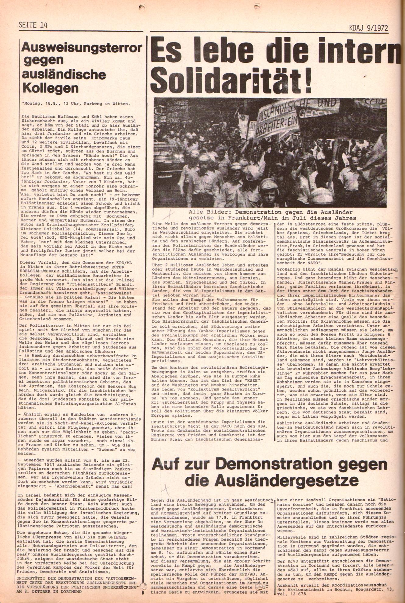 KDAJ, 3. Jg., Oktober 1972, Nr. 9, Seite 14
