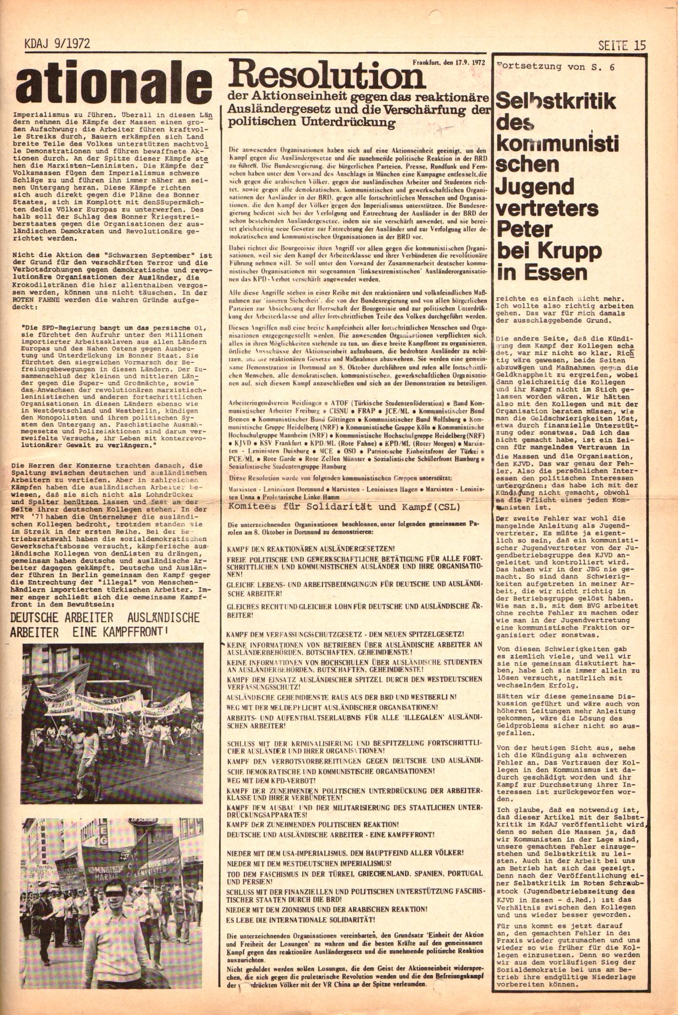 KDAJ, 3. Jg., Oktober 1972, Nr. 9, Seite 15