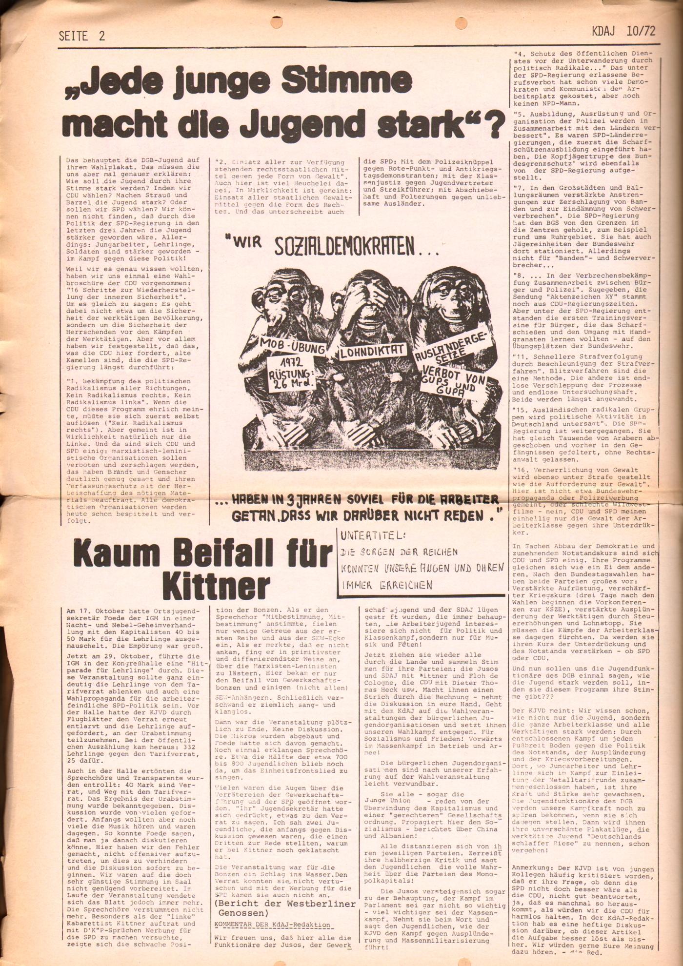 KDAJ, 3. Jg., November 1972, Nr. 10, Seite 2