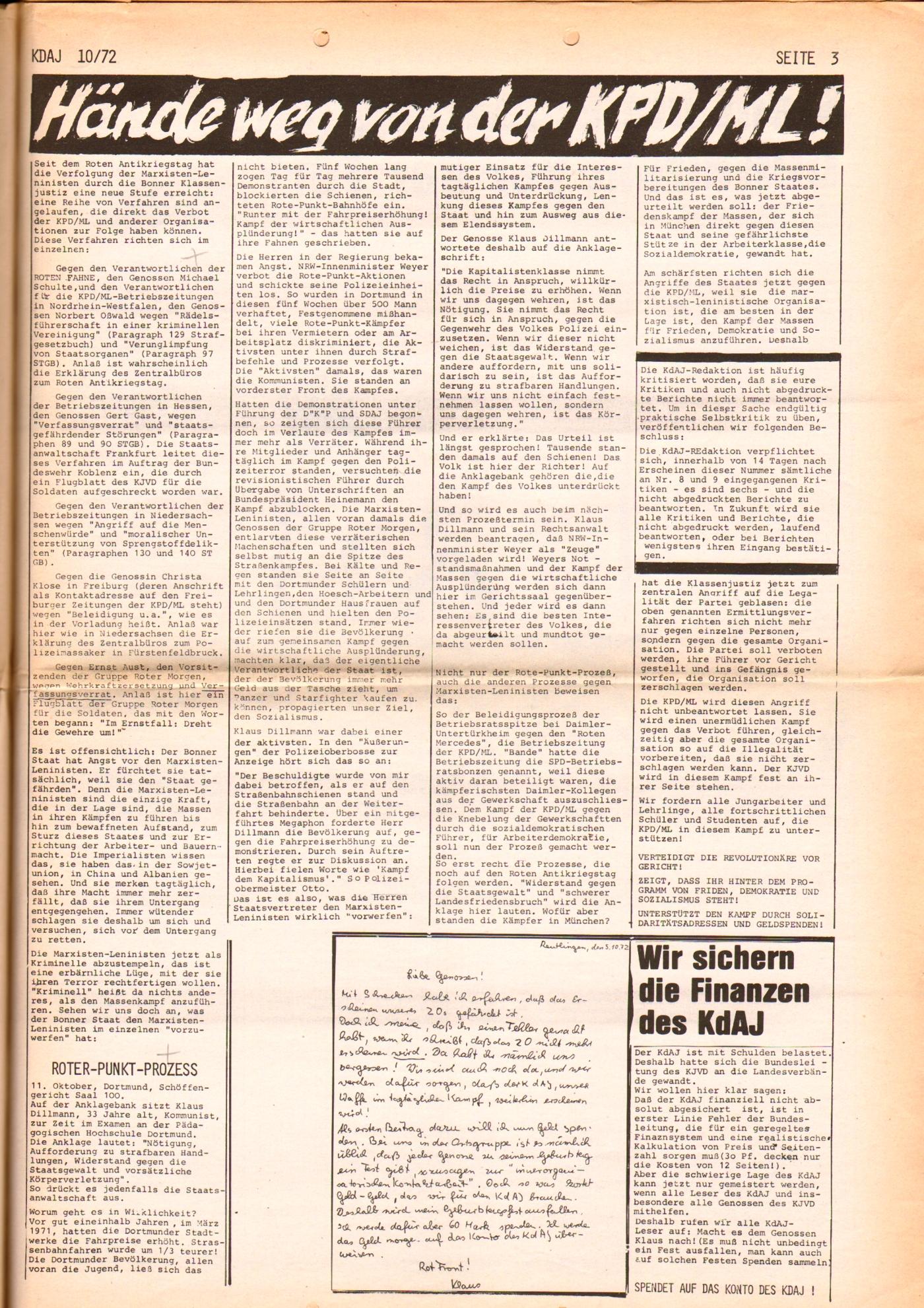 KDAJ, 3. Jg., November 1972, Nr. 10, Seite 3