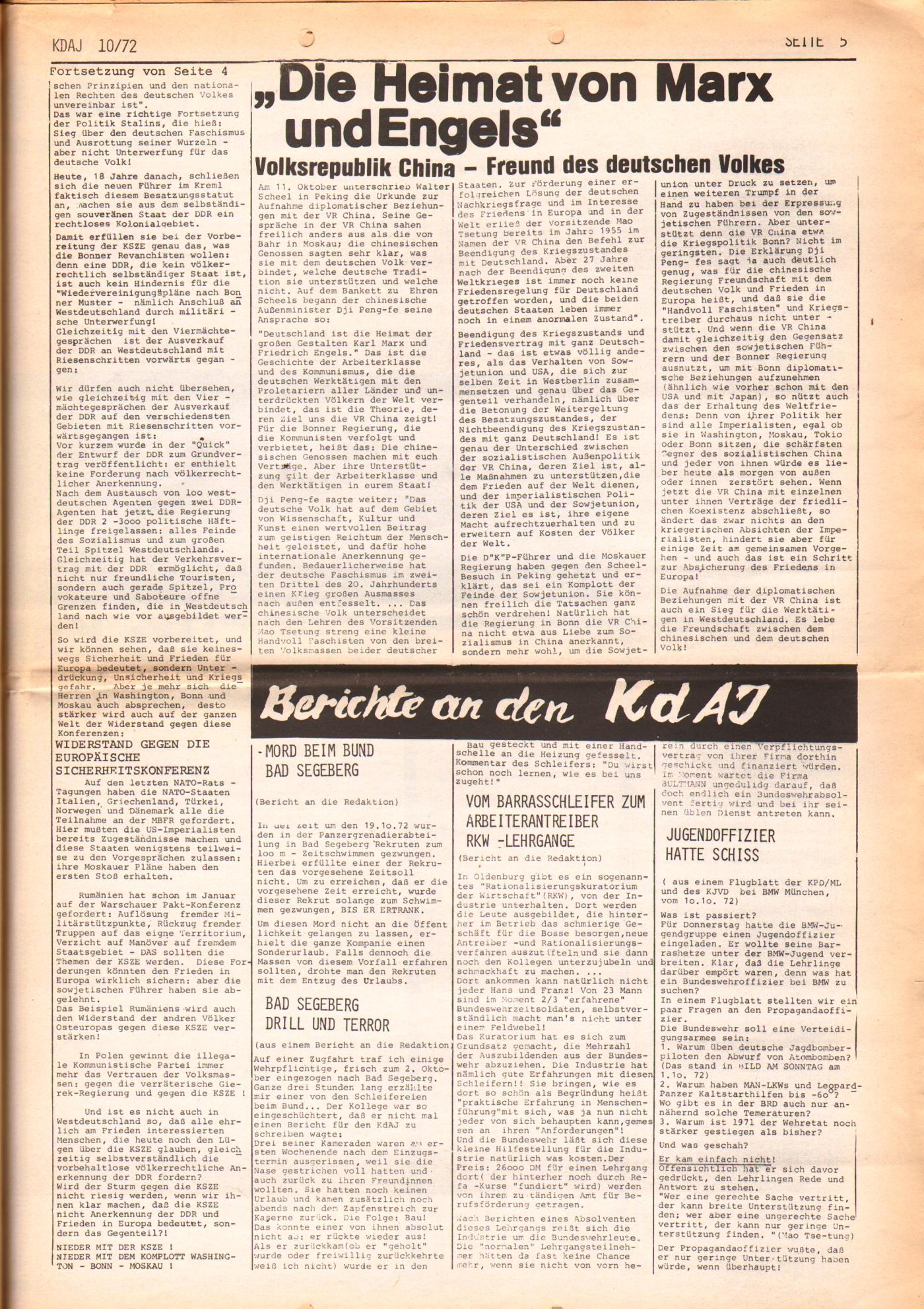 KDAJ, 3. Jg., November 1972, Nr. 10, Seite 5