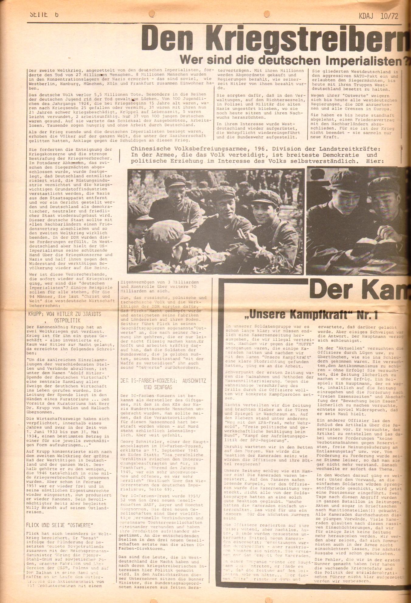 KDAJ, 3. Jg., November 1972, Nr. 10, Seite 6